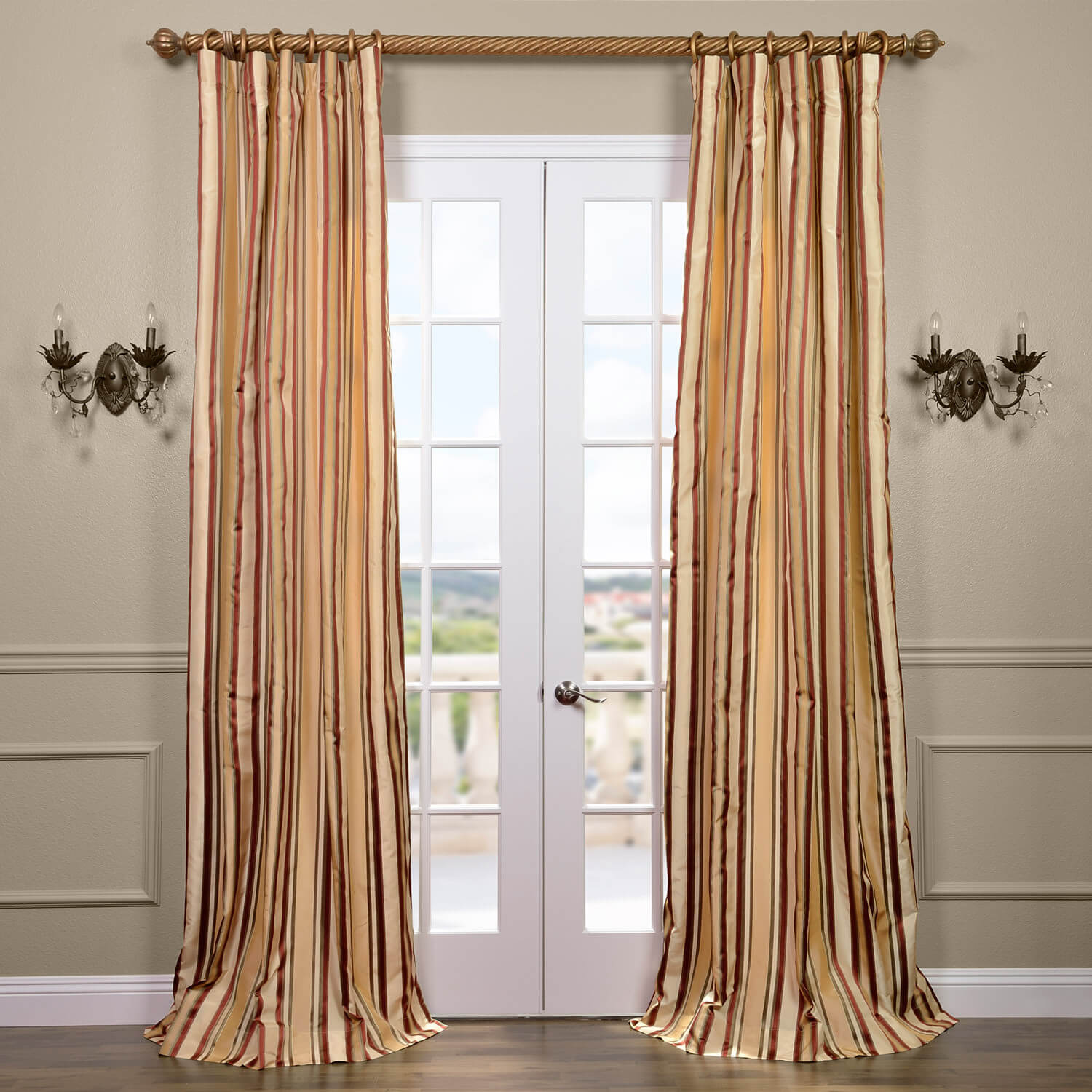 Toscano Silk Taffeta Stripe Curtain