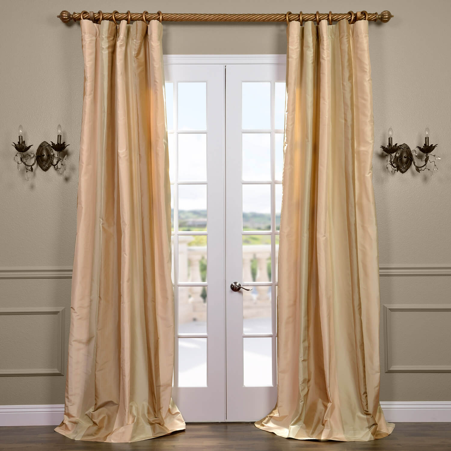Tulare Silk Taffeta Stripe Curtain
