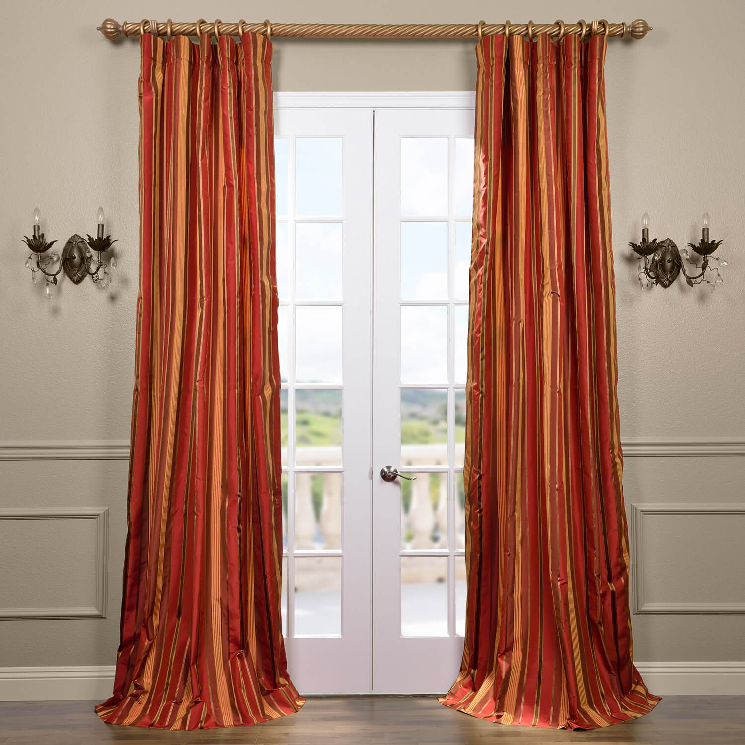 Melrose Silk Taffeta Satin Stripe Curtain