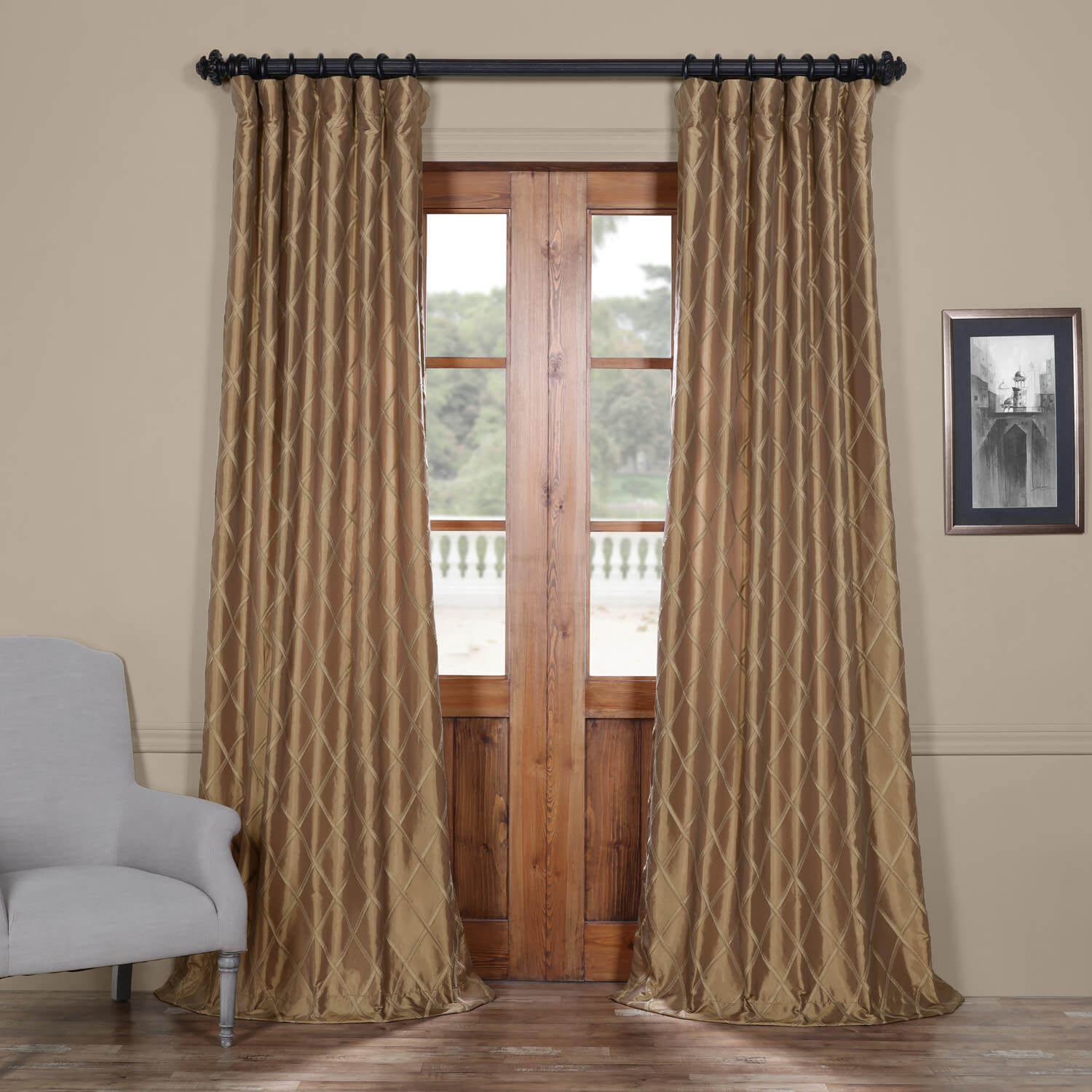Alexandria Gold Taffeta Faux Silk Curtain
