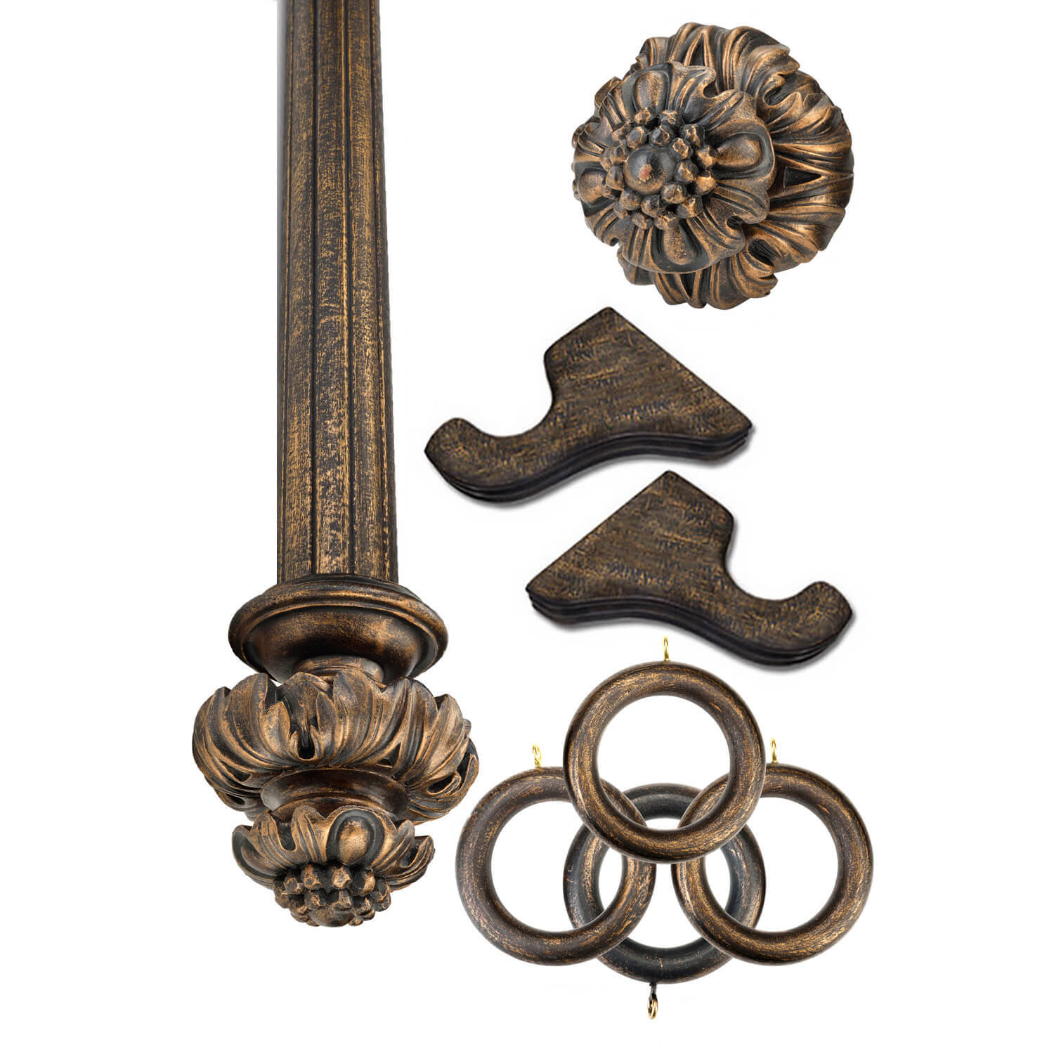 Royal Fancy Antique Bronze Prepacked Wooden Rod Set