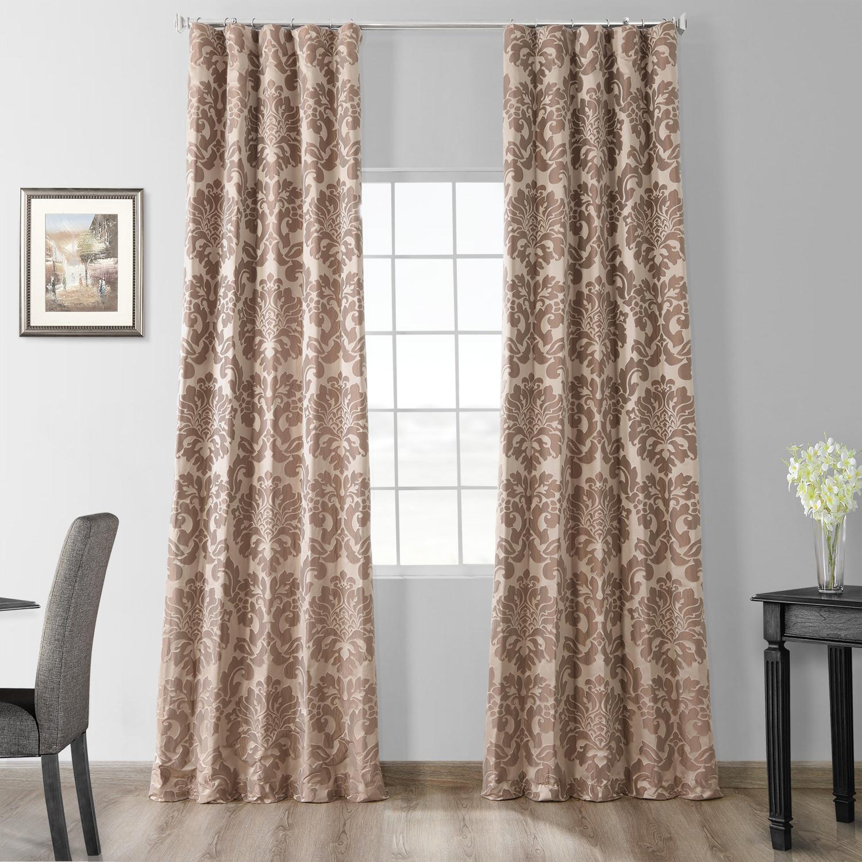 Astoria Taupe & Mushroom Faux Silk Jacquard Curtain