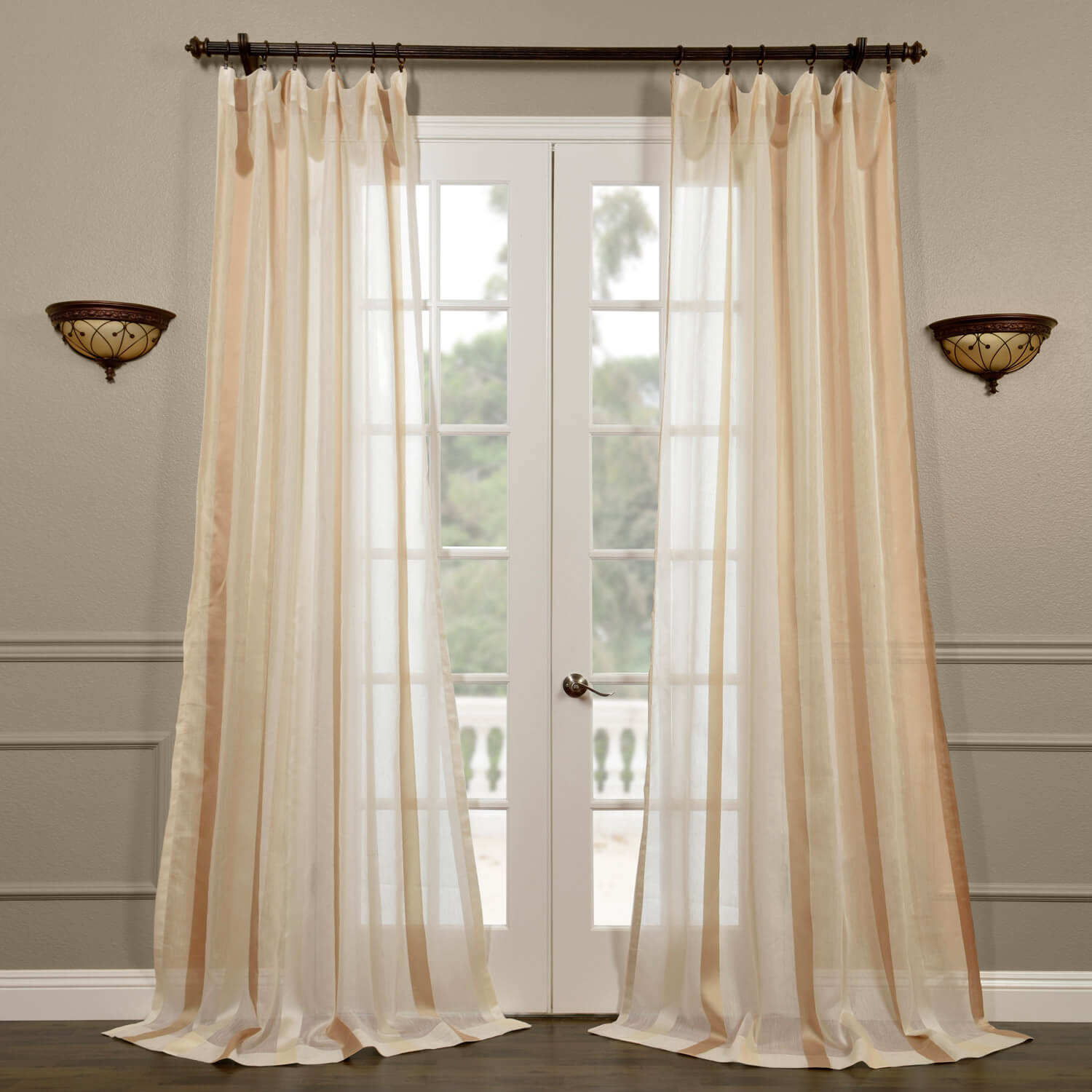 Carlton Crème Linen Blend Stripe Sheer Curtain