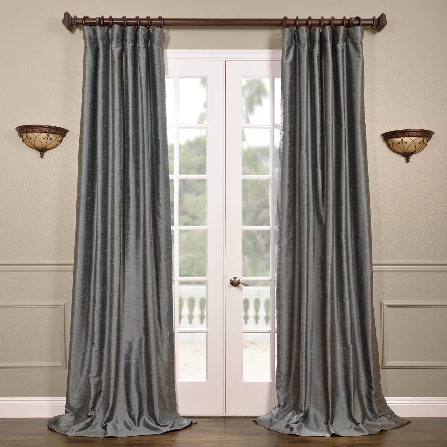 Pacific Storm Yarn Dyed Faux Dupioni Silk Curtain