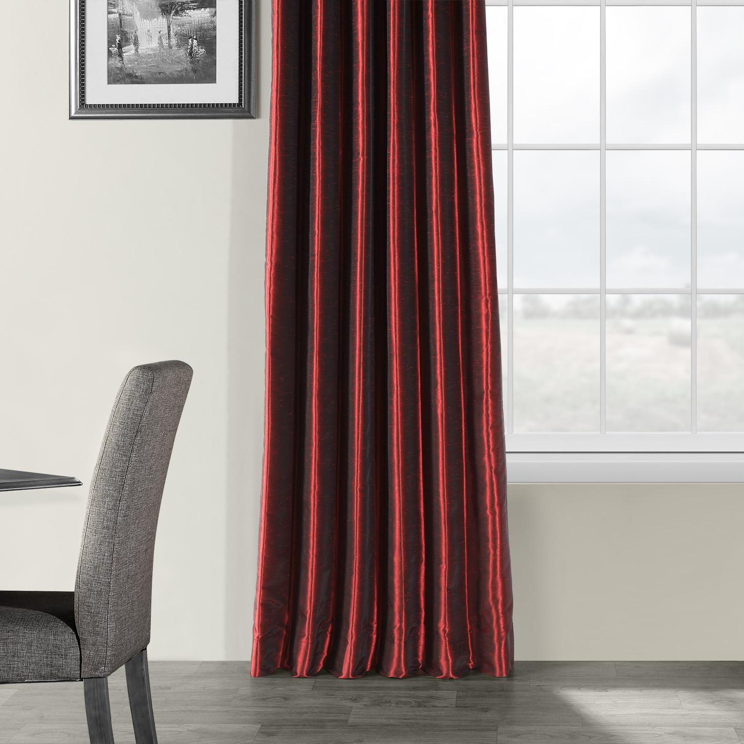 Ruby Vintage Textured Faux Dupioni Silk Curtain