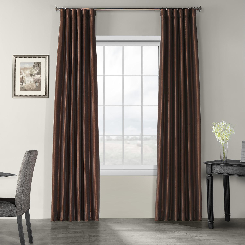 Coffee Bean Vintage Textured Faux Dupioni Silk Curtain