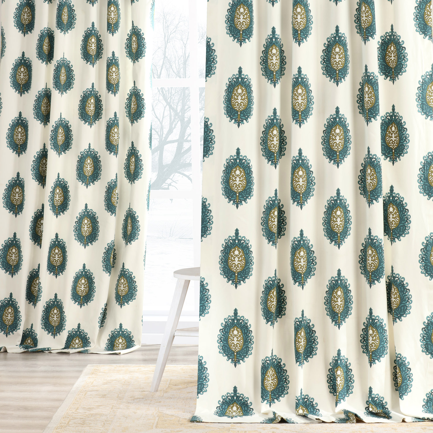 Mayan Teal Printed Cotton Curtain