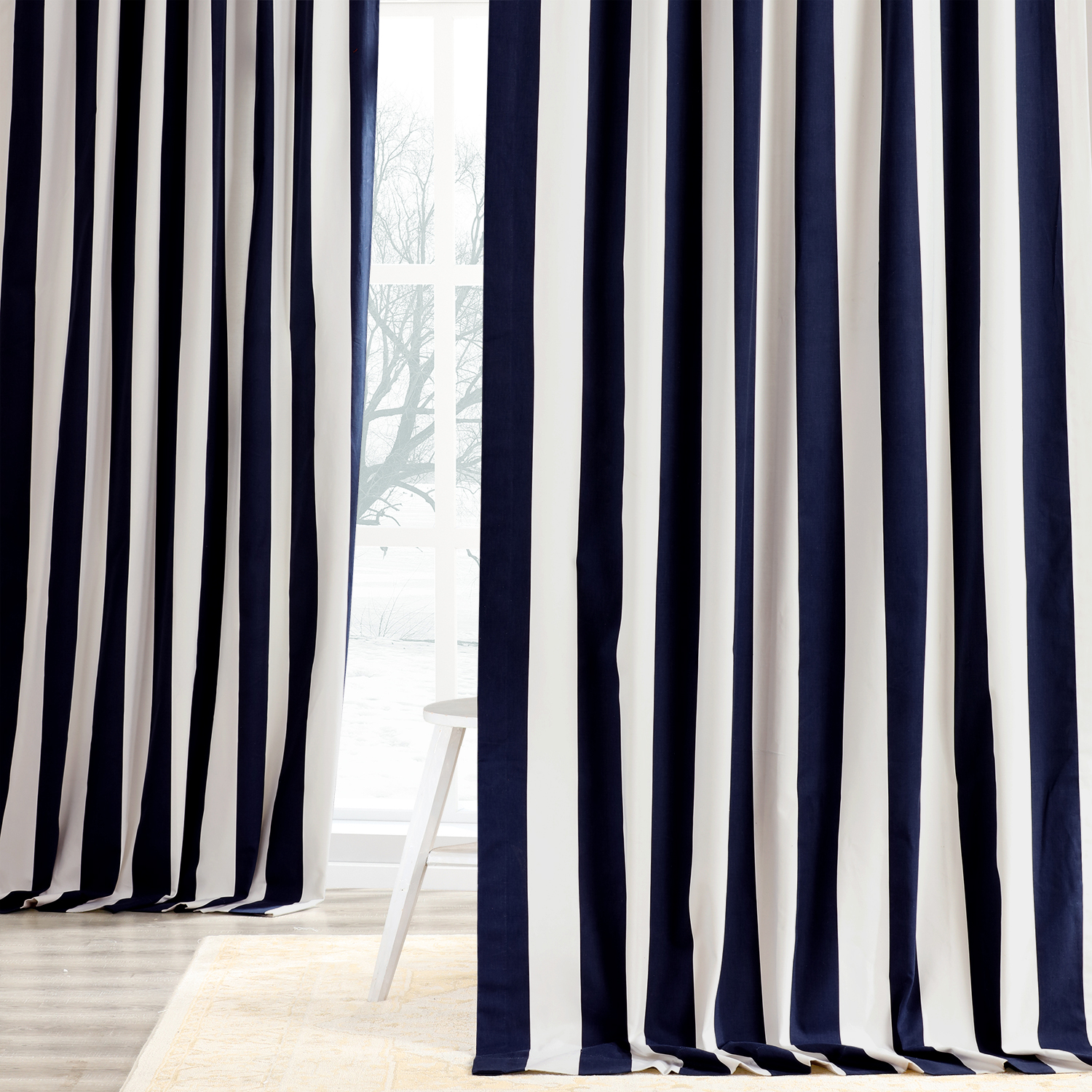 Cabana Navy Printed Cotton Curtain