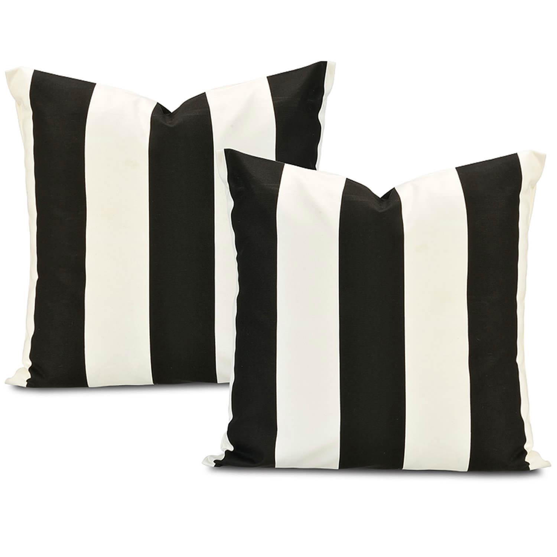 Cabana Black Printed Cotton Cushion Cover (Pair)