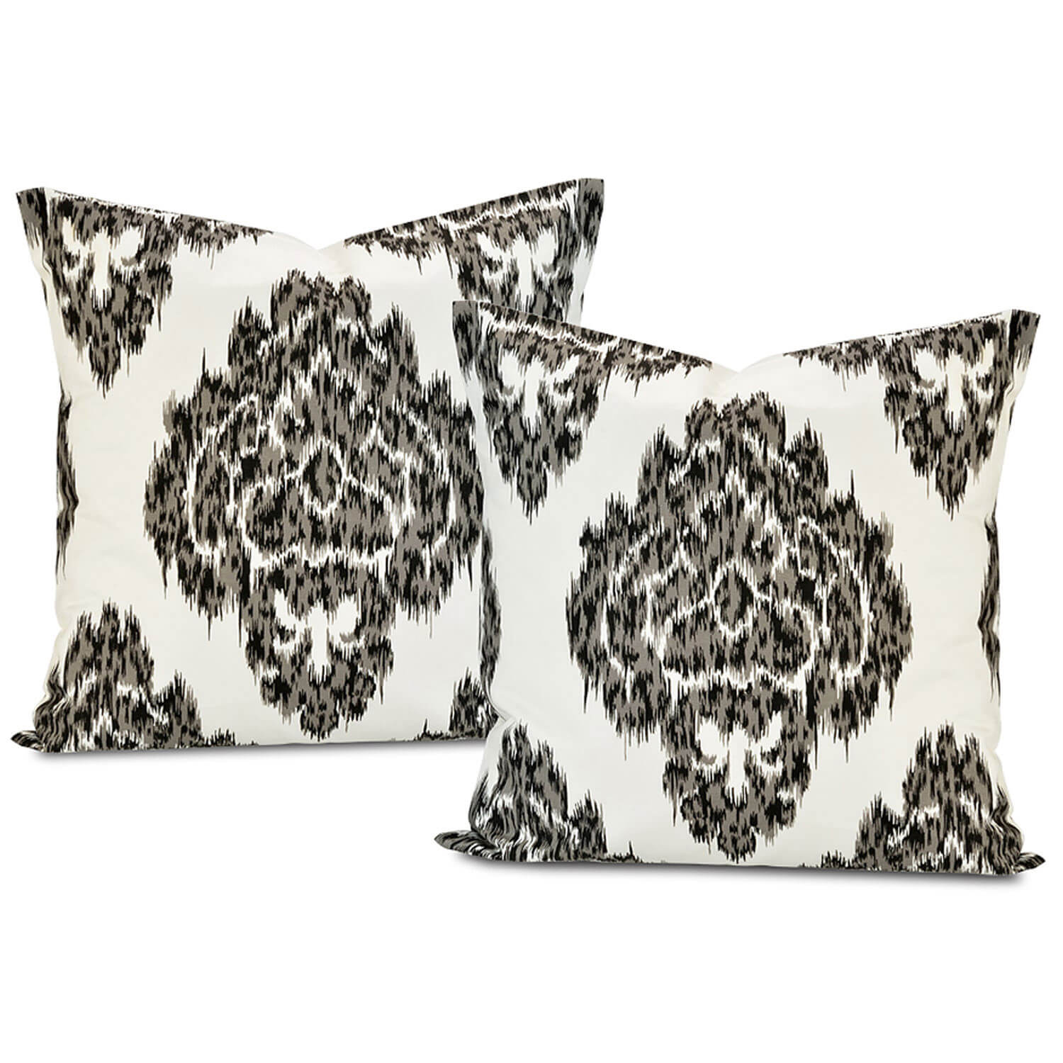 Ikat Black Printed Cotton Cushion Cover (Pair)