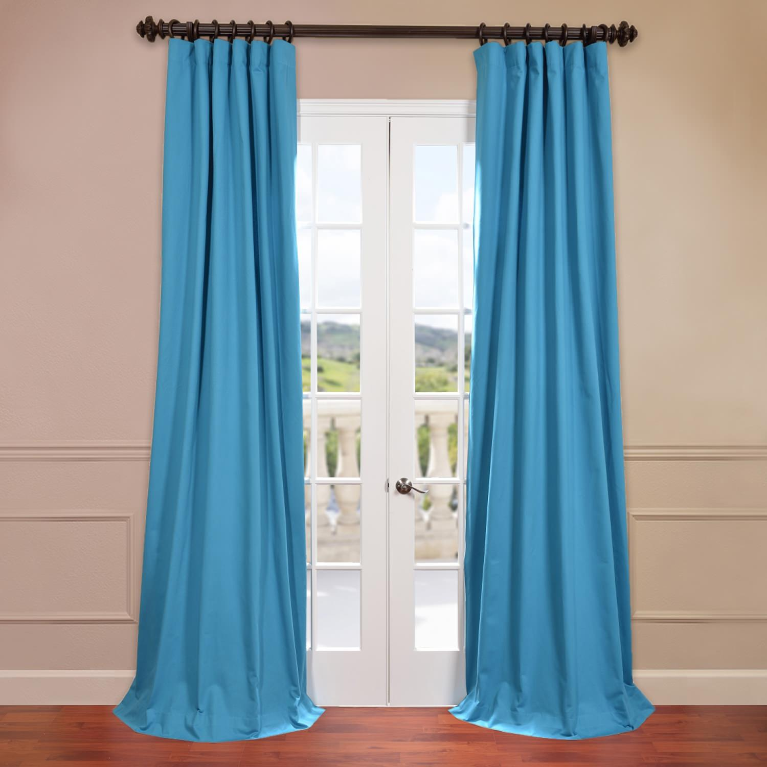 Capri Teal Cotton Twill Curtain