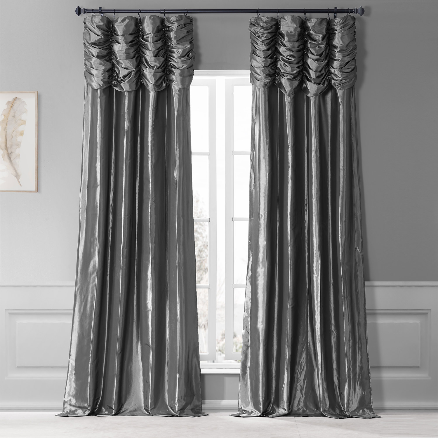 Graphite Ruched Faux Solid Taffeta Curtain