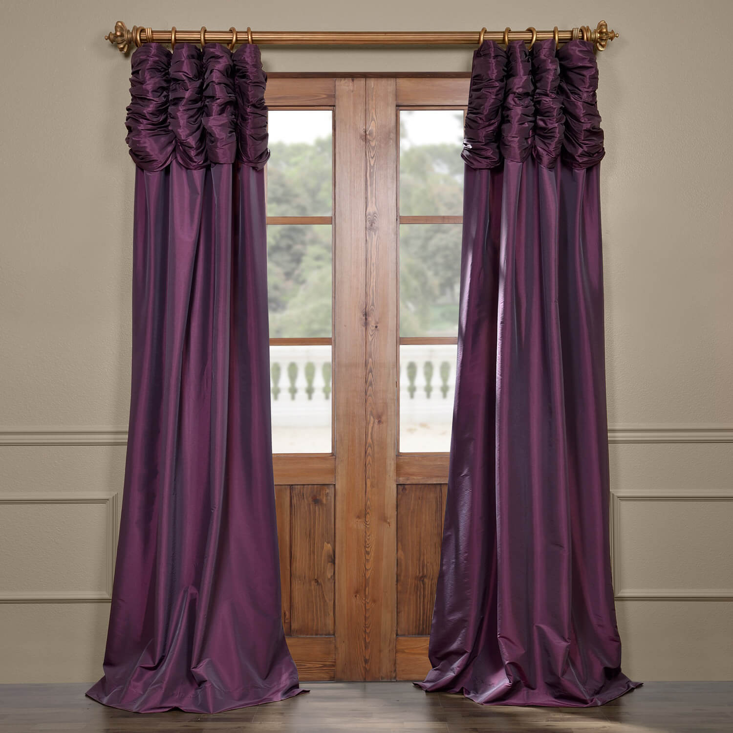 Dahlia Ruched Faux Solid Taffeta Curtain