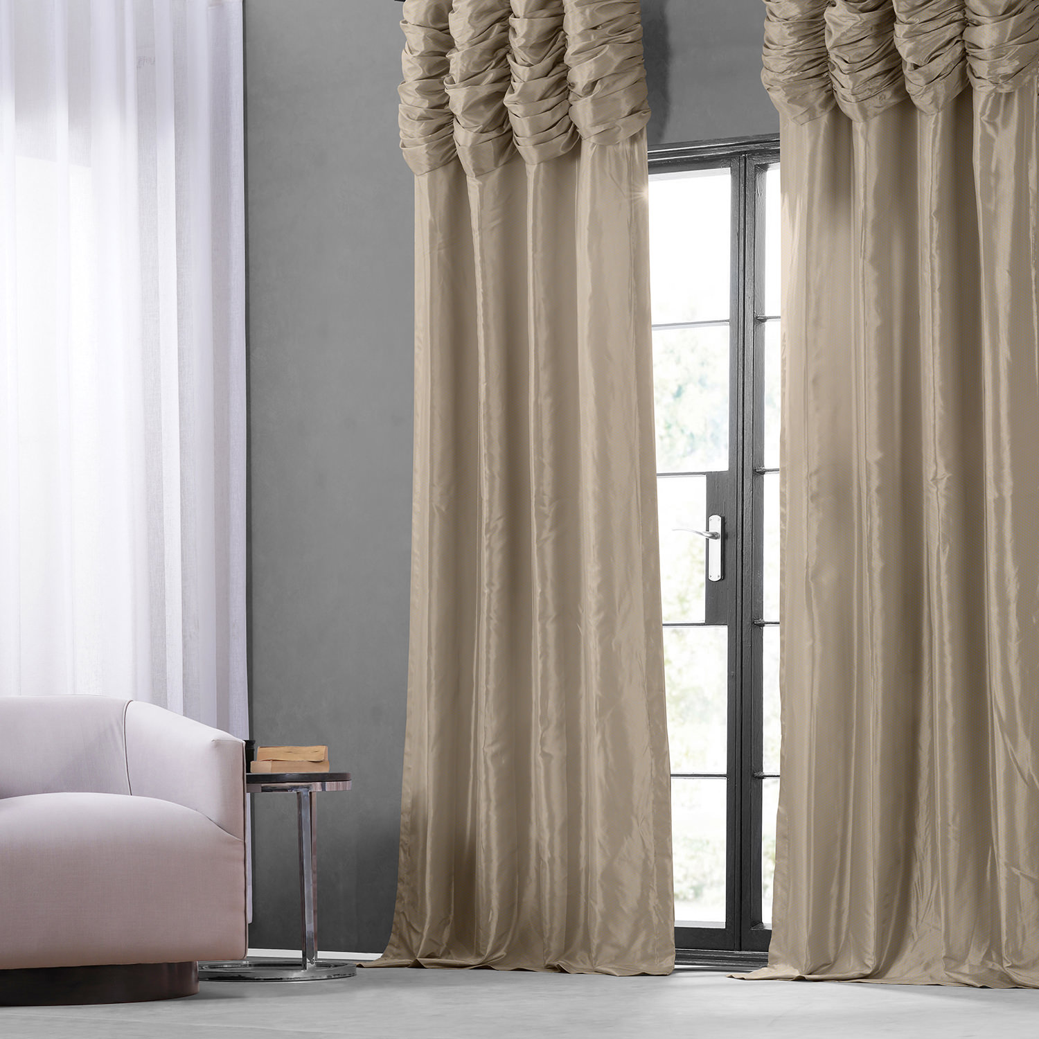 Antique Beige Ruched Faux Solid Taffeta Curtain