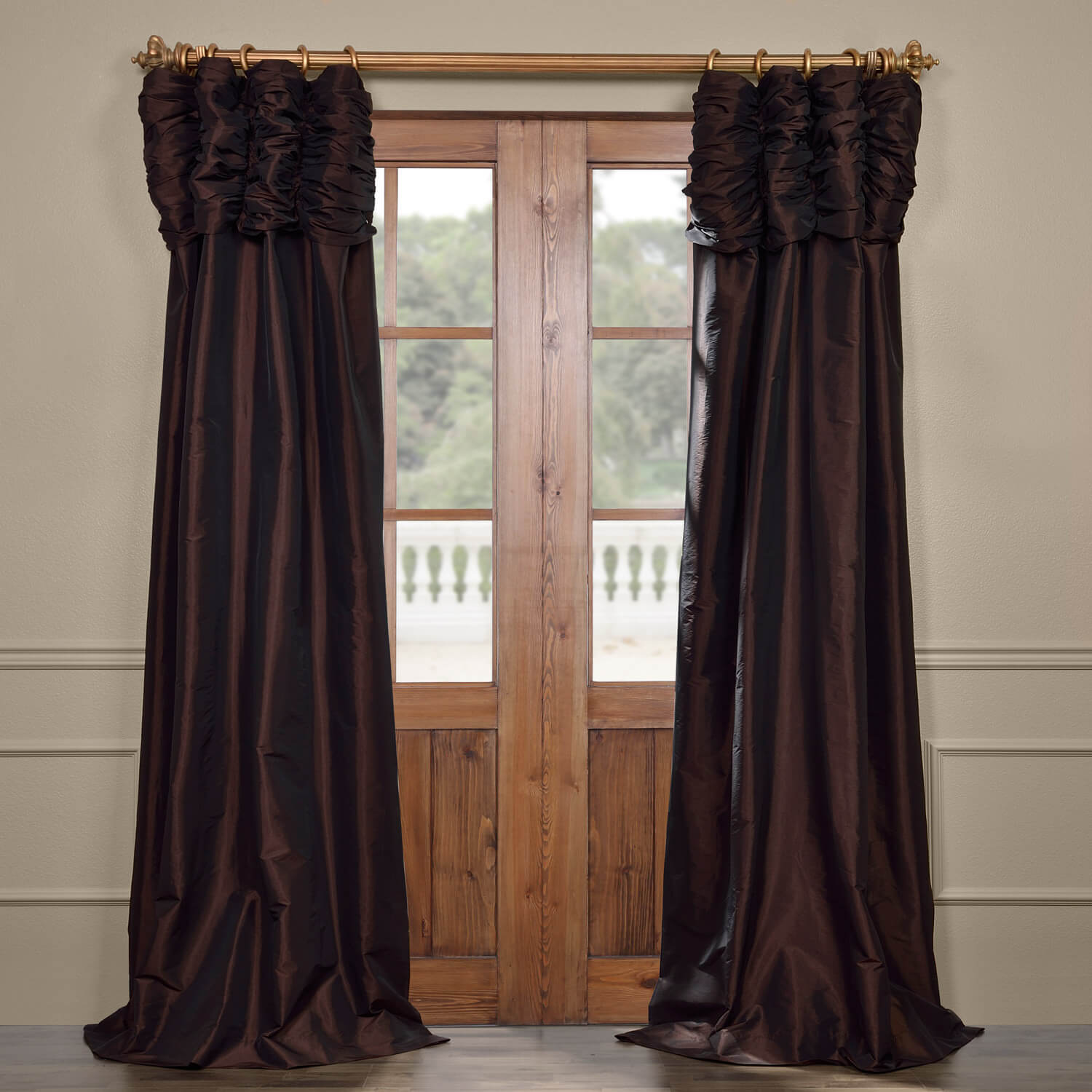 Java Ruched Faux Solid Taffeta Curtain