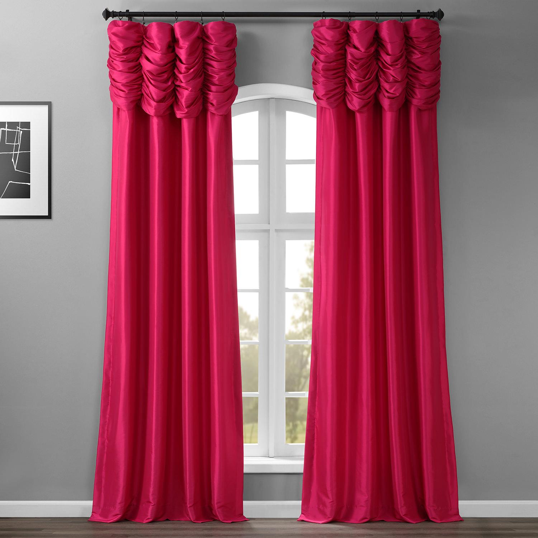 Fuchsia Rose Ruched Faux Solid Taffeta Curtain