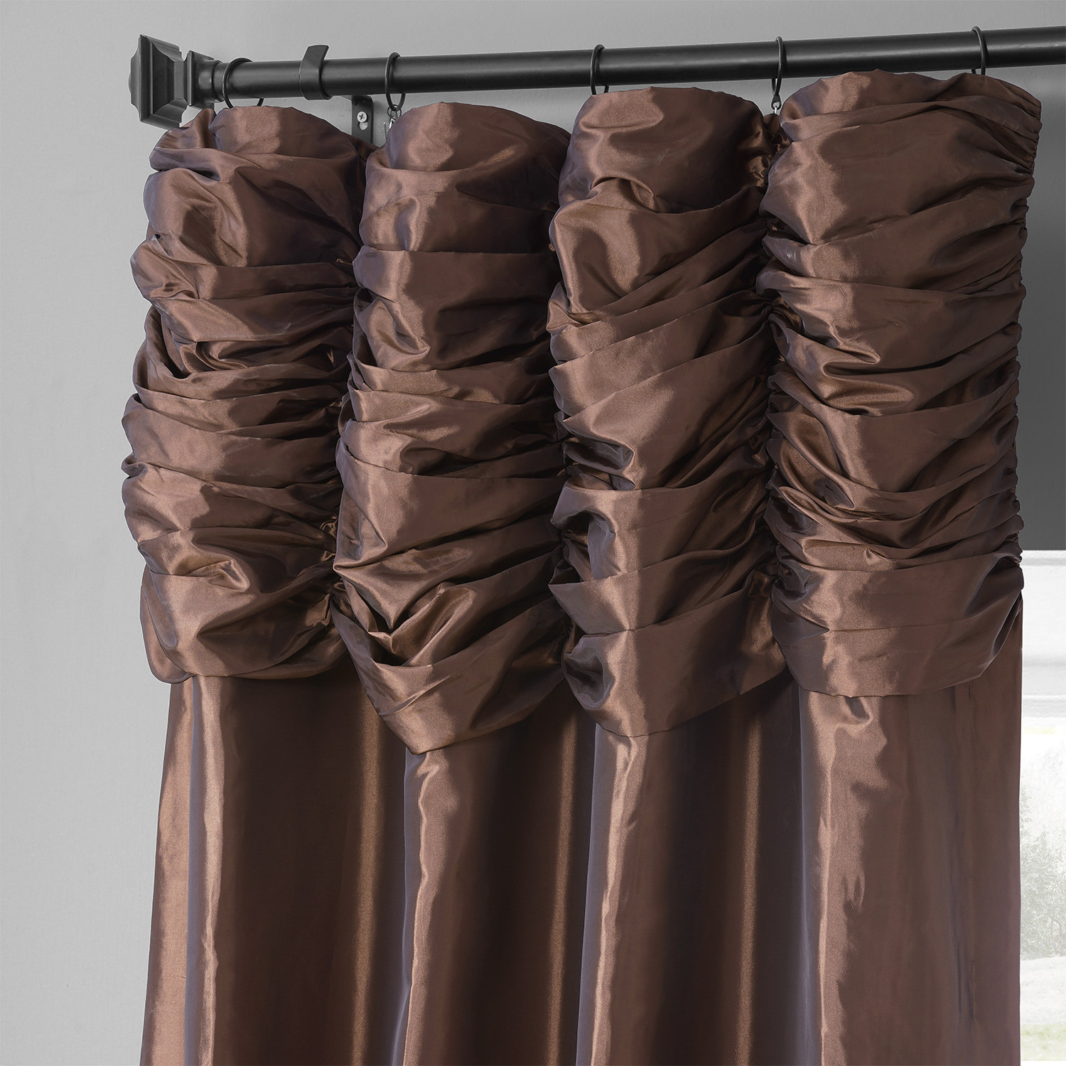 Copper Brown Ruched Faux Solid Taffeta Curtain