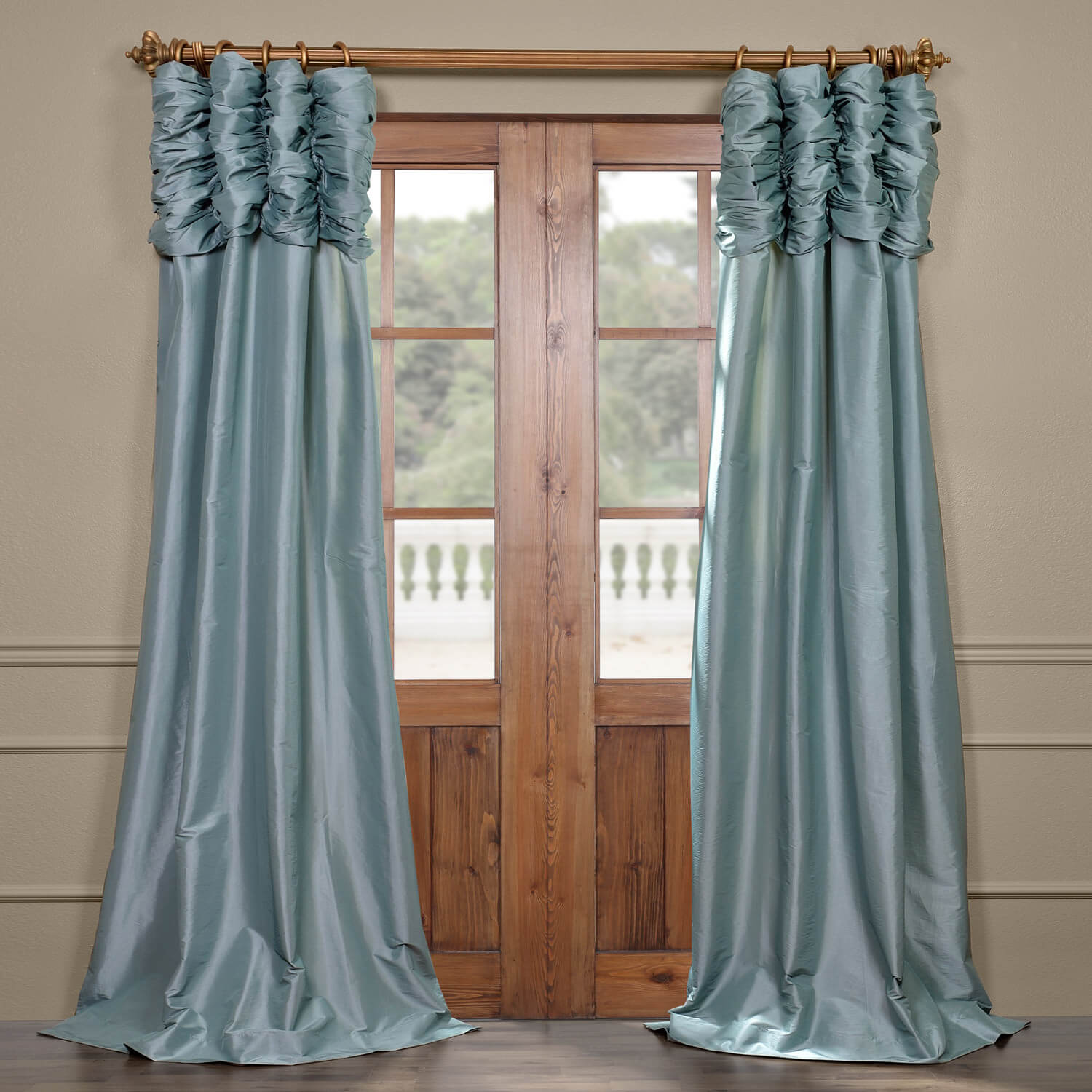 Robins Egg Ruched Faux Solid Taffeta Curtain
