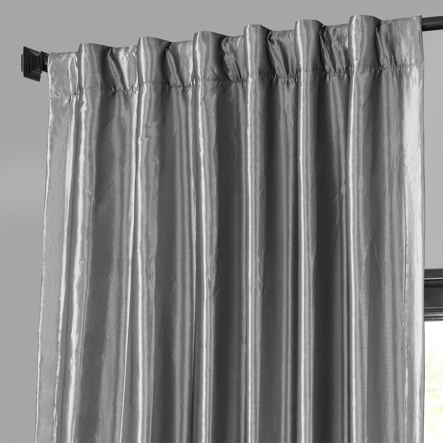 Platinum Blackout Faux Silk Taffeta Curtain