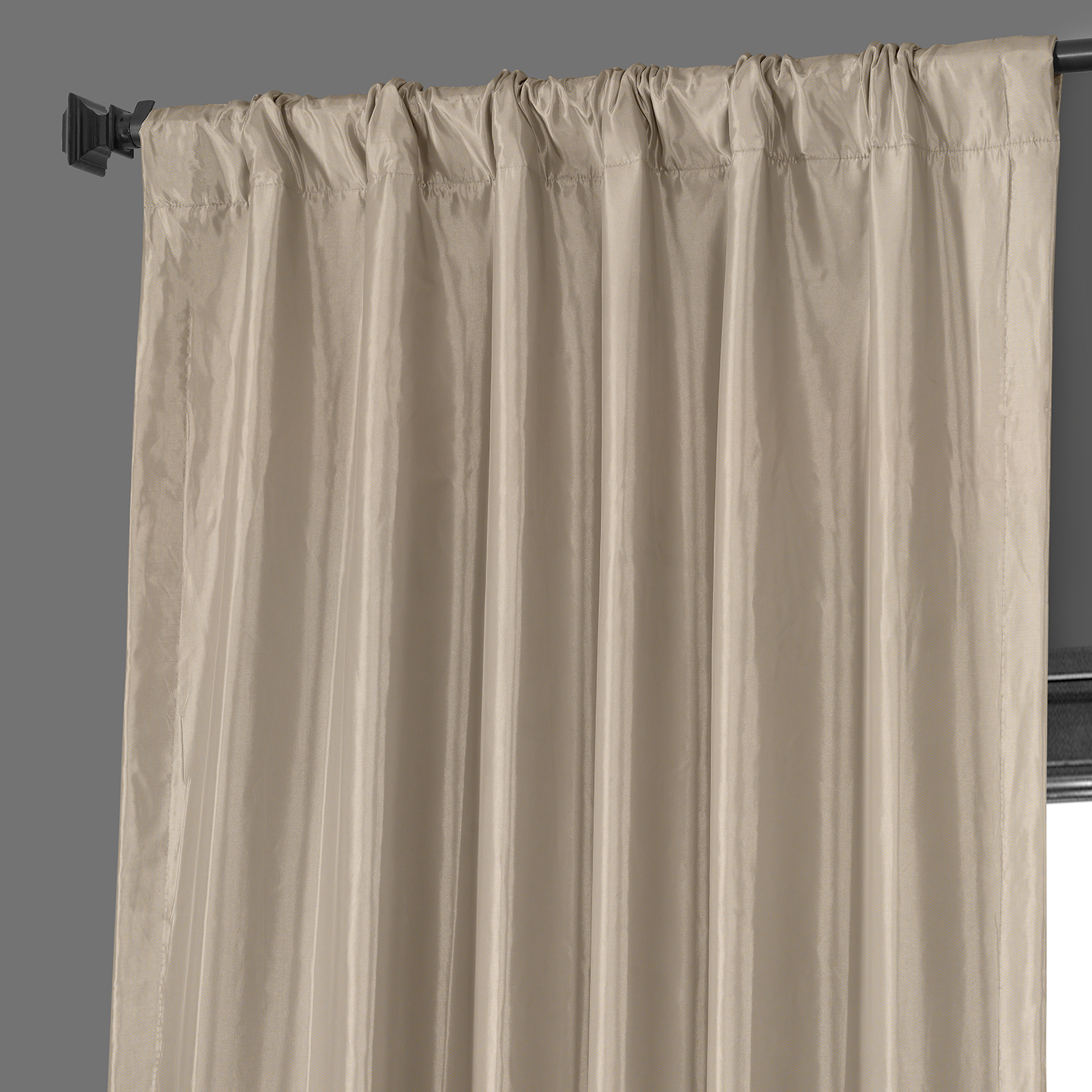 Antique Beige Blackout Faux Silk Taffeta Curtain