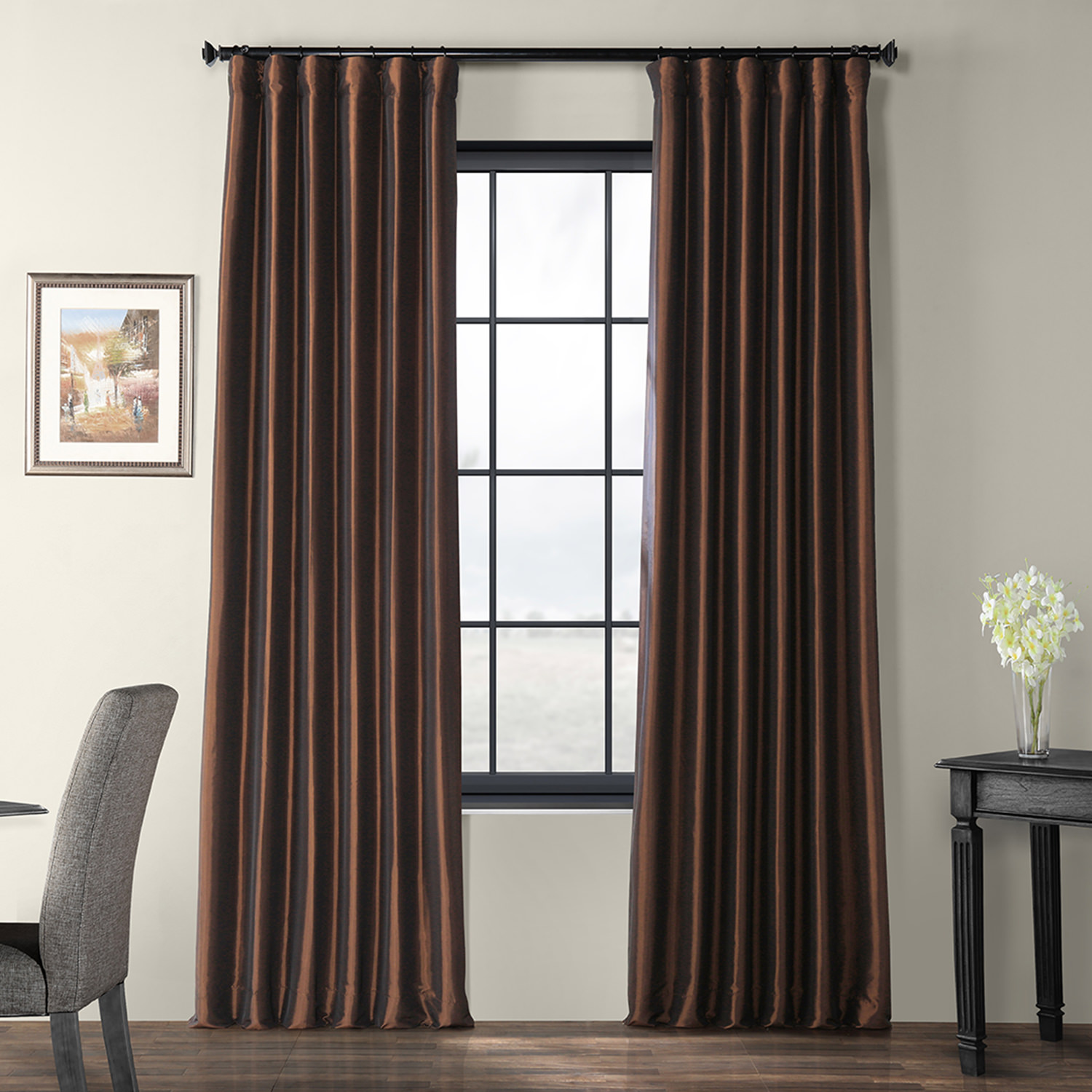 Rum Raisin Faux Silk Taffeta Curtain