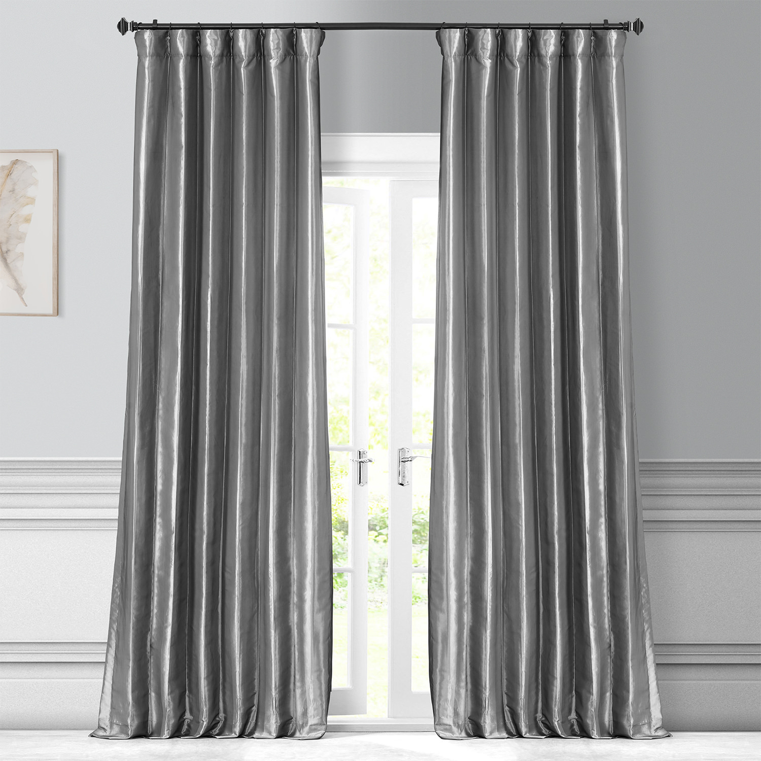 Platinum Faux Silk Taffeta Curtain