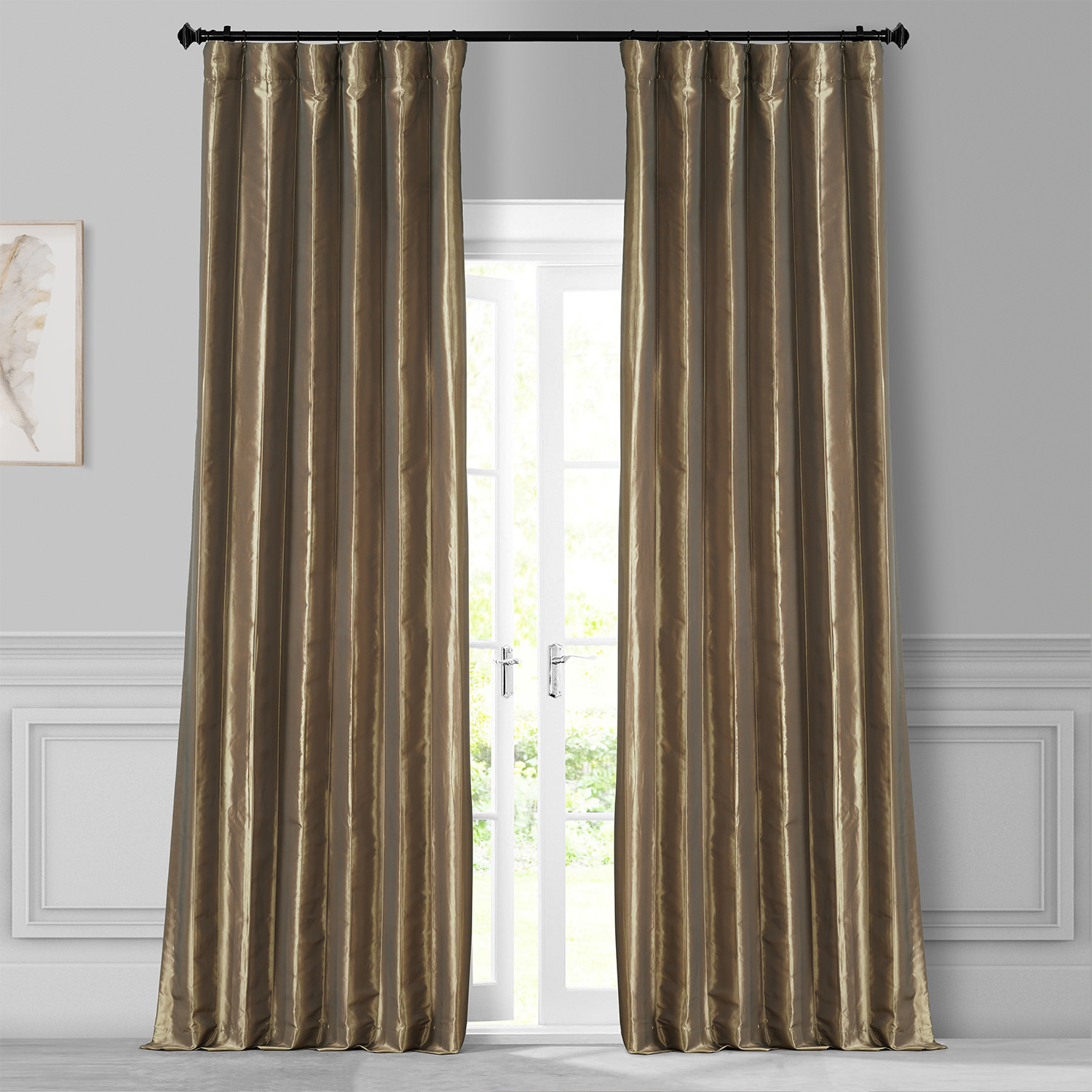 Gold Nugget Faux Silk Taffeta Curtain