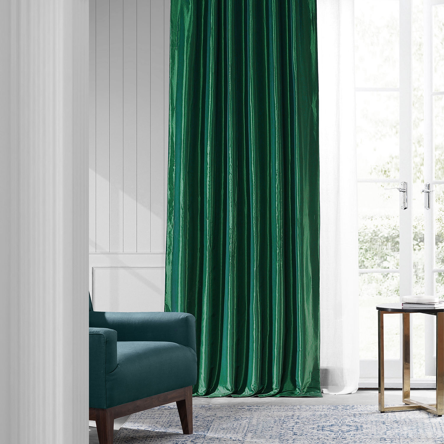 Emerald Green Faux Silk Taffeta Curtain