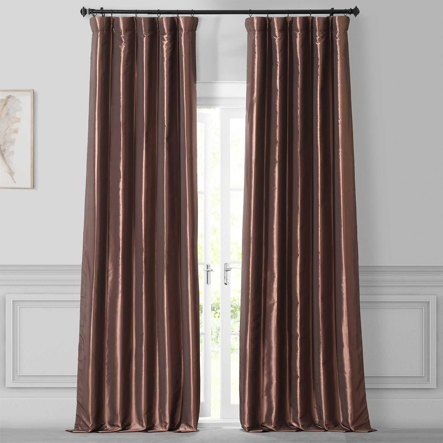 Copper Brown Faux Silk Taffeta Curtain