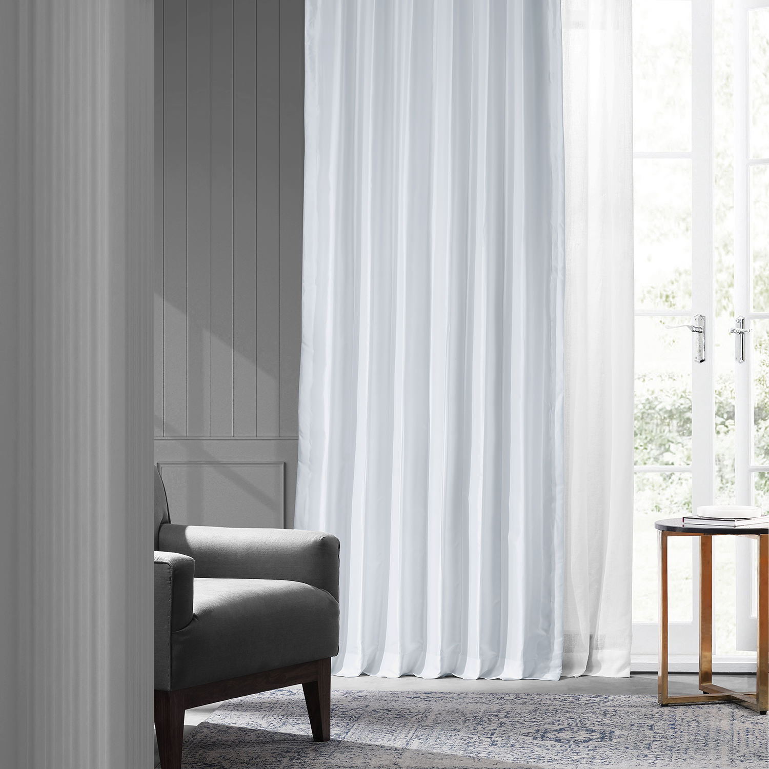 White Faux Silk Taffeta Curtain