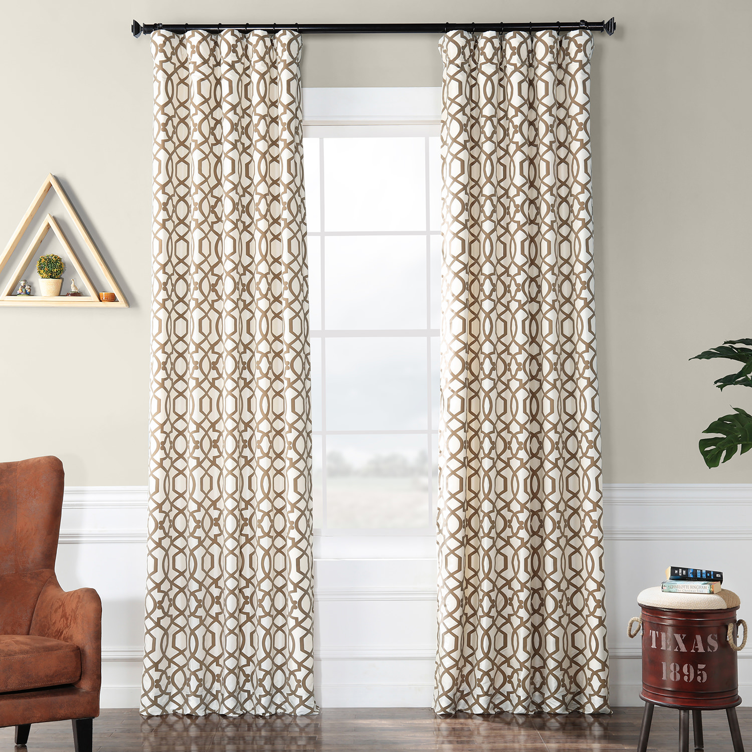 Filigree Pearl Flocked Faux Silk Curtain