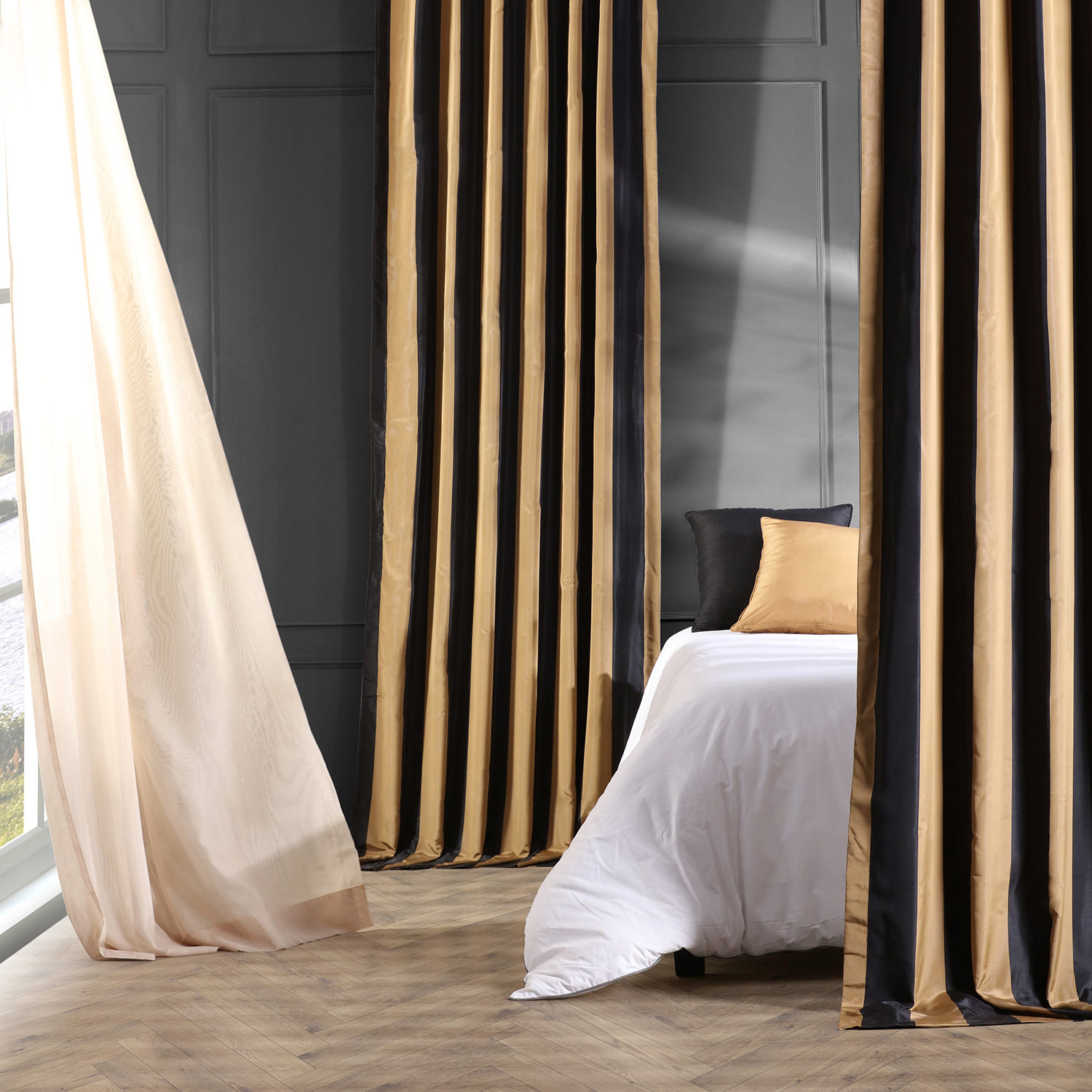 Regency Faux Silk Taffeta Stripe Curtain
