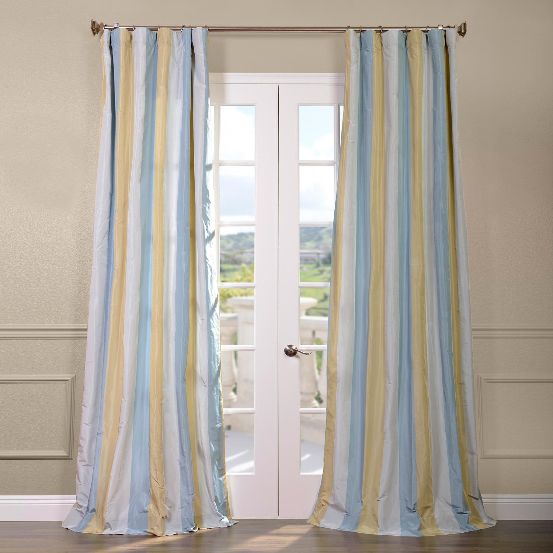 Catalina Faux Silk Taffeta Stripe Curtain