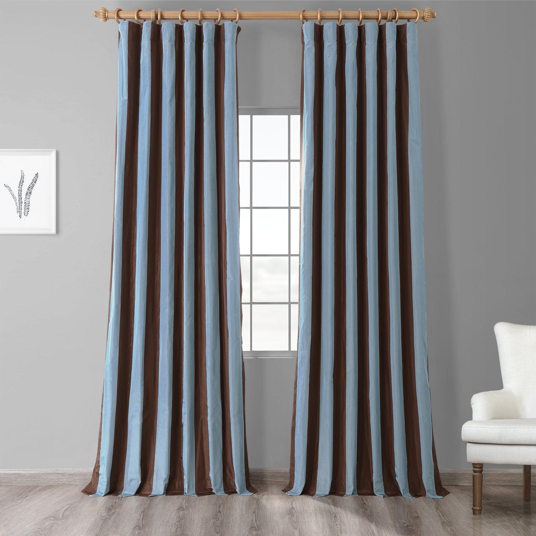 Crockett Faux Silk Taffeta Stripe Curtain