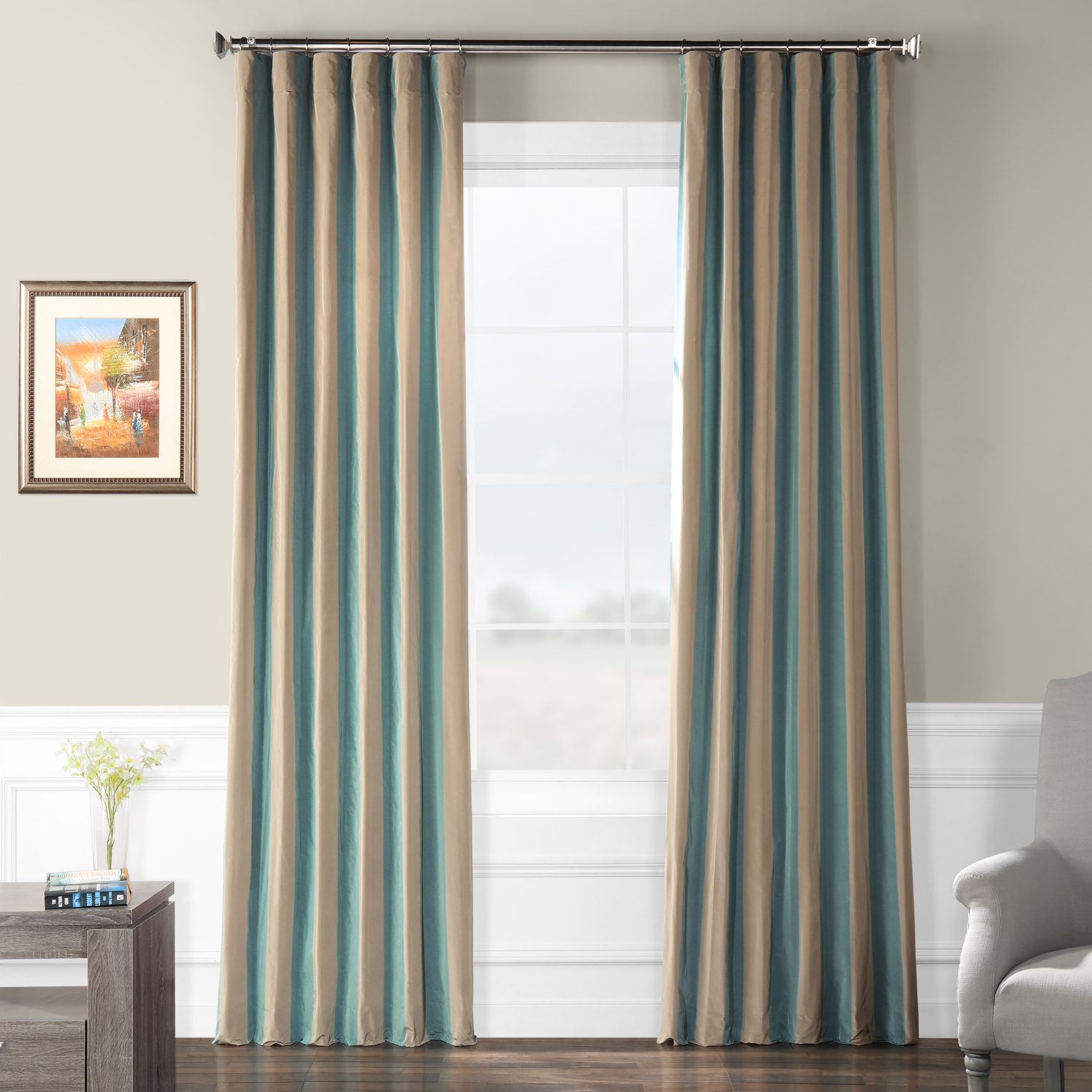 Marin Faux Silk Taffeta Stripe Curtain