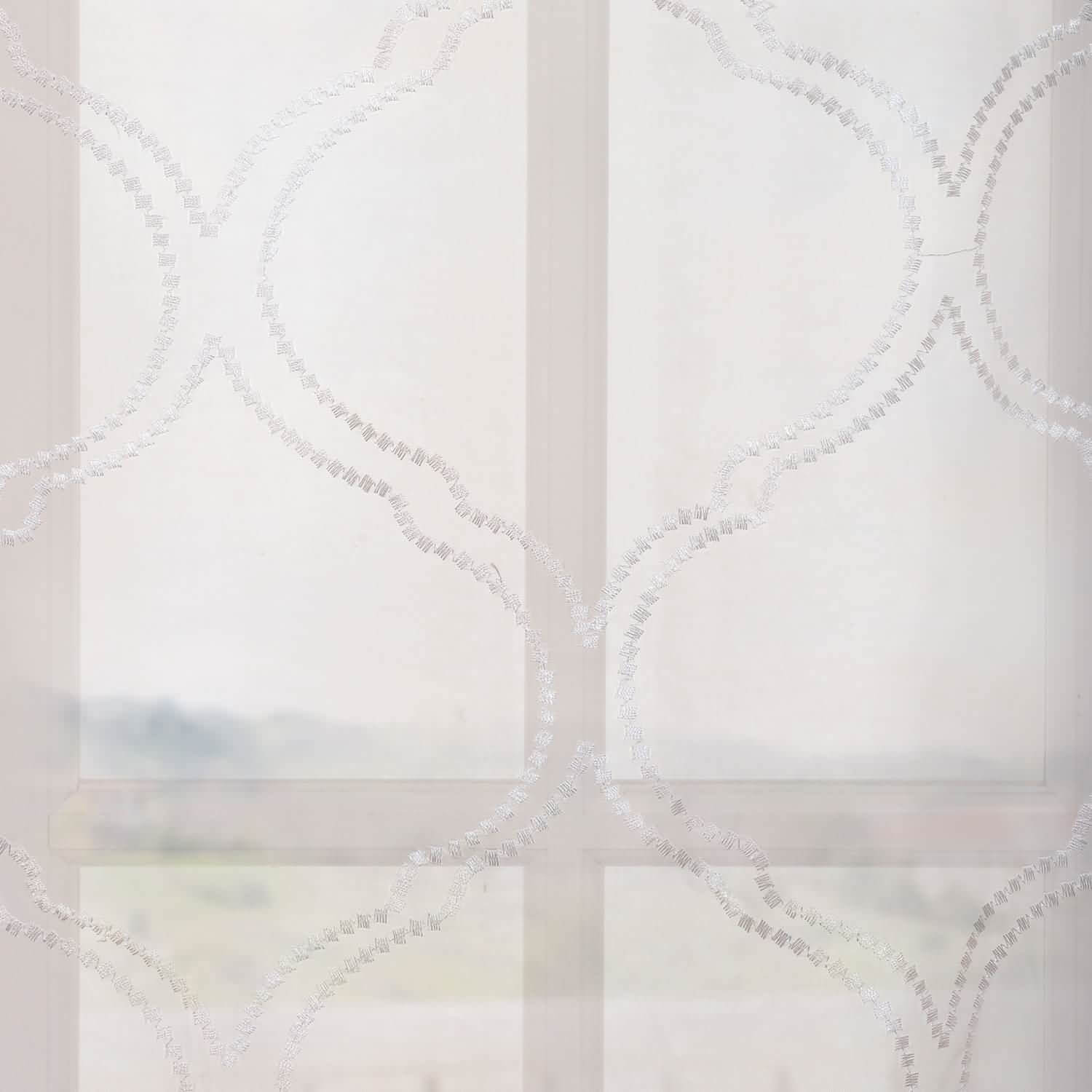 Florentina White Embroidered Sheer Swatch