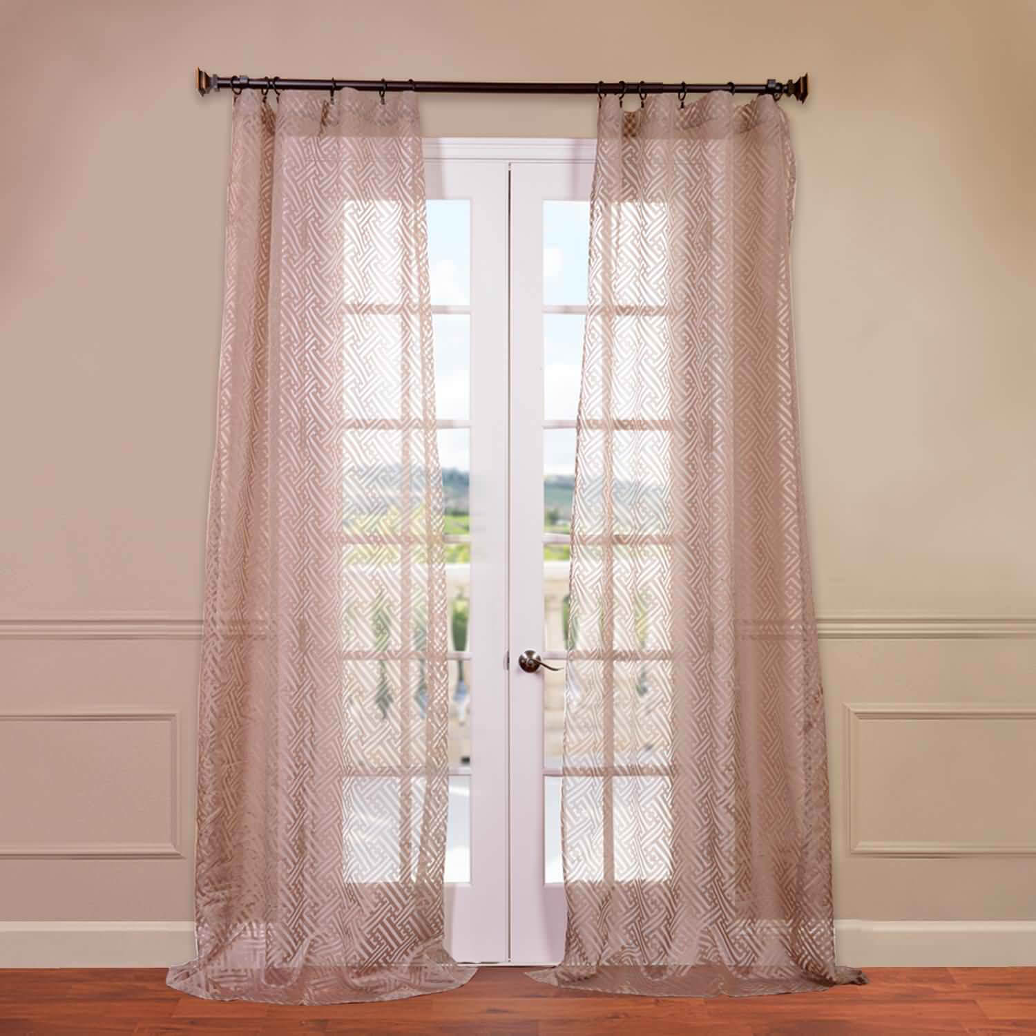 Zara Taupe Patterned Sheer Curtain