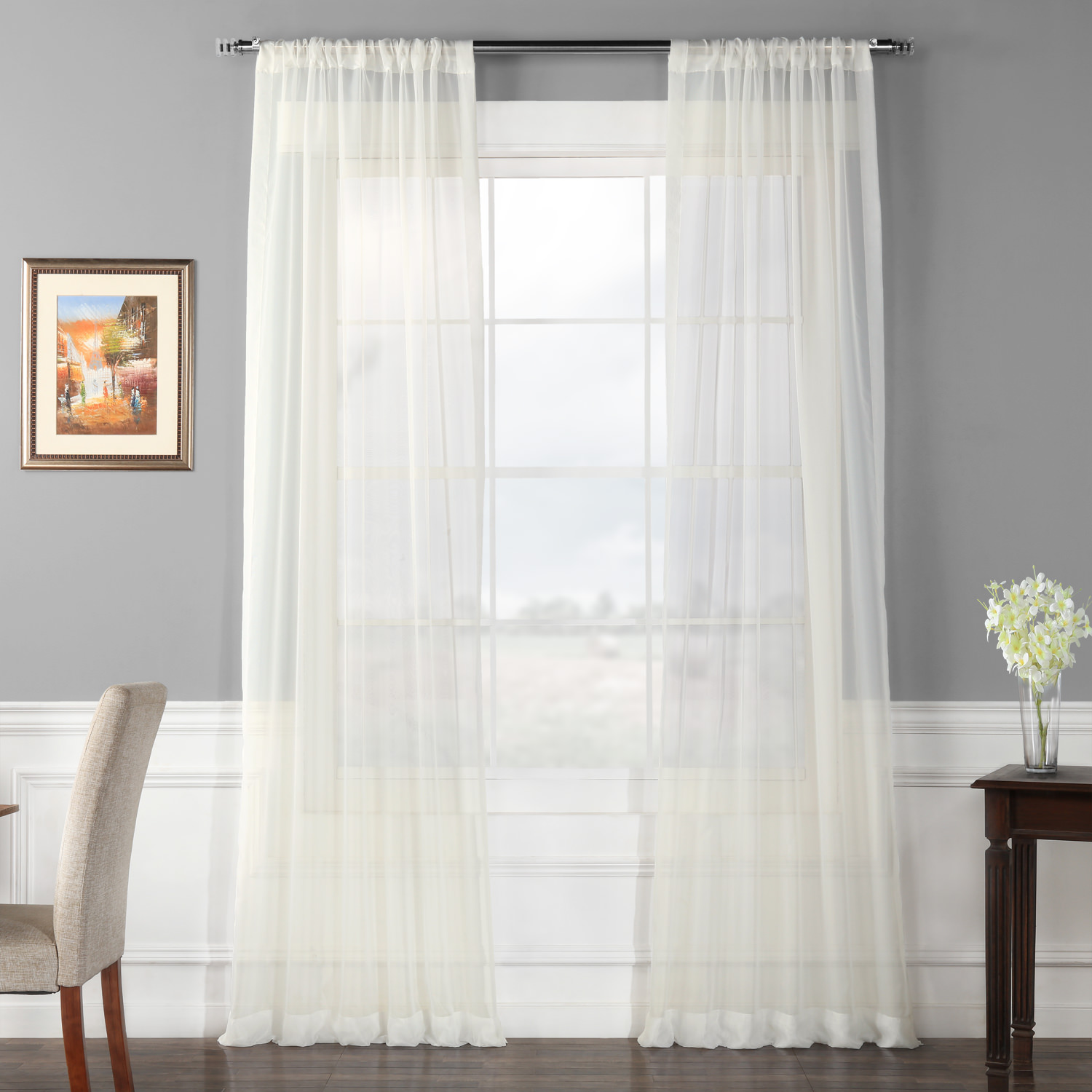 Pair (2 Panels) Solid Off White Voile Poly Sheer Curtain