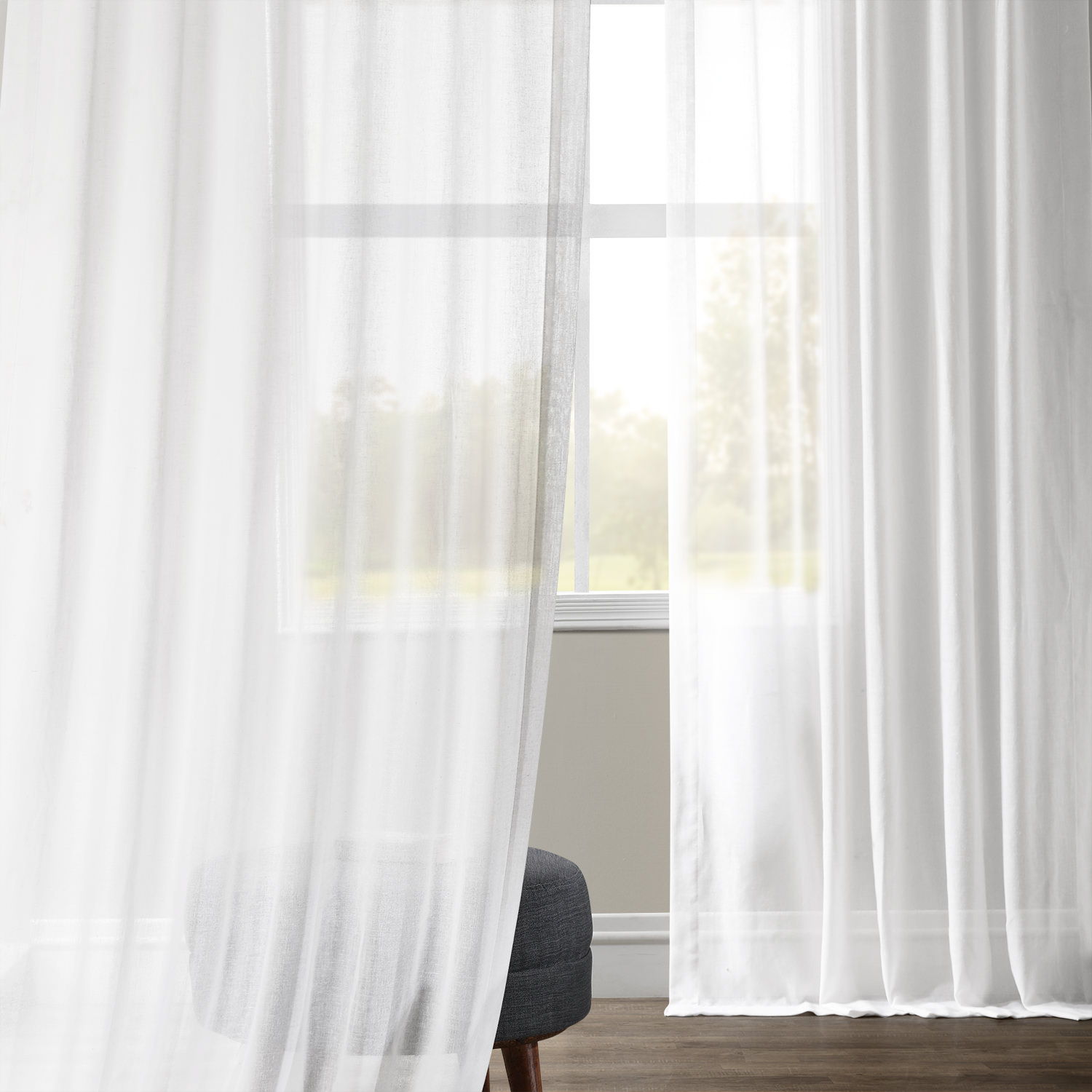 White Orchid Faux Linen Sheer Curtain