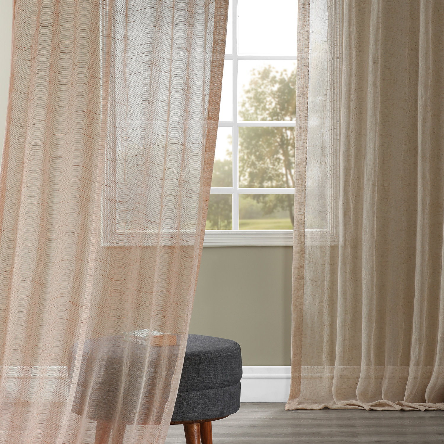 Open Weave Natural Linen Sheer Curtain