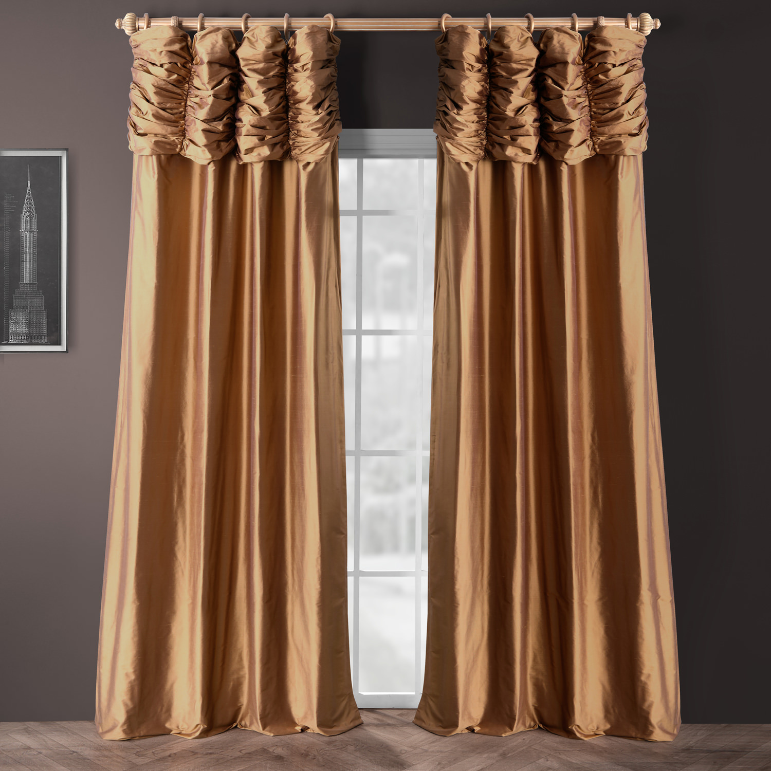 Ruched Brown Gold Thai Silk Curtain