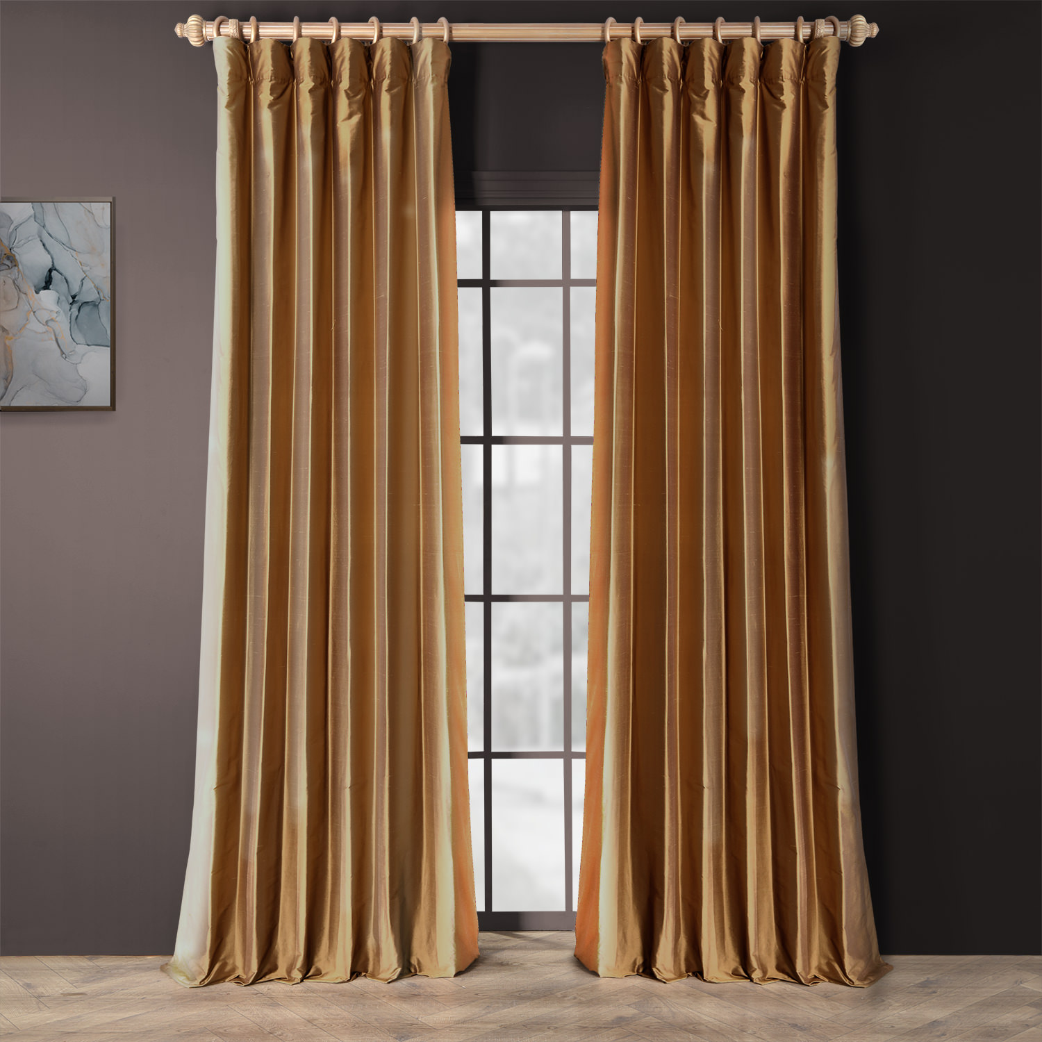 Brown Gold Thai Silk Curtain