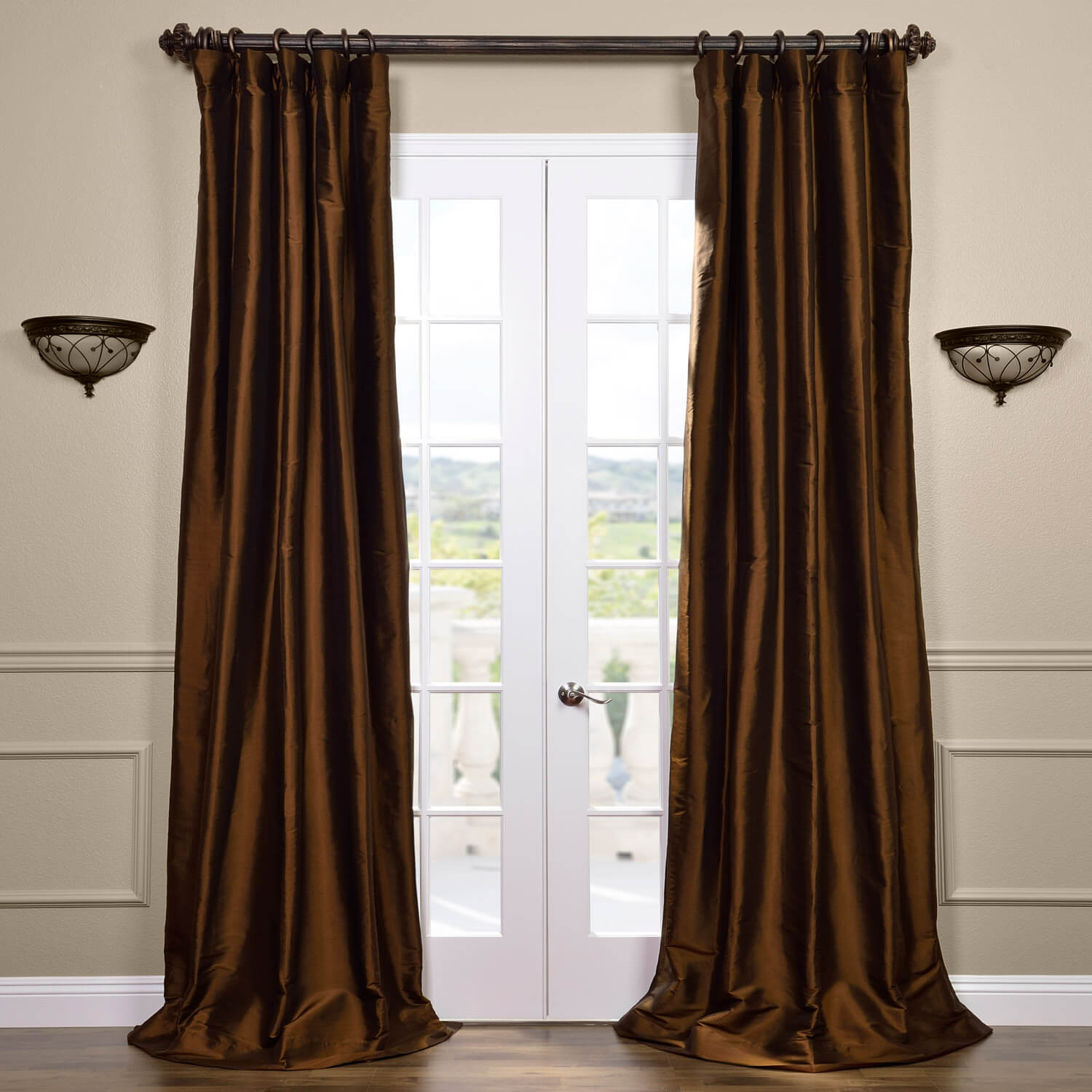 Chocolate Brown Thai Silk Curtain