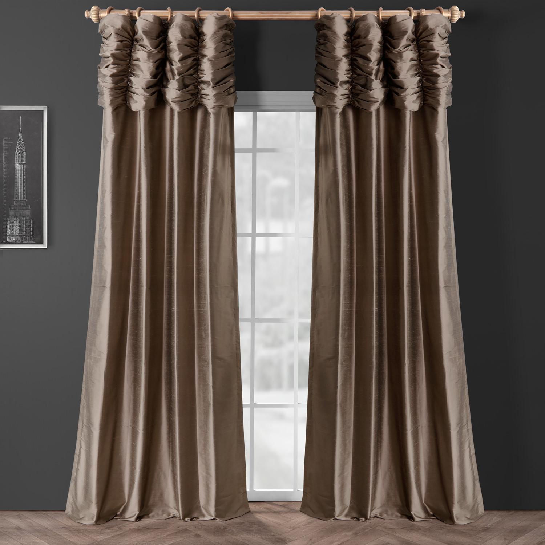 Ruched Silver Grey Thai Silk Curtain