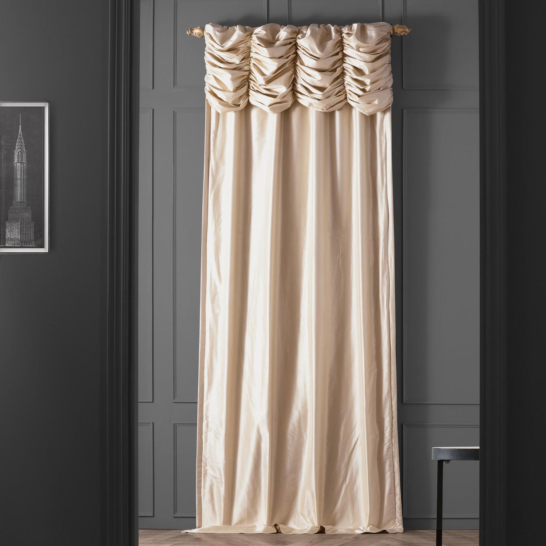 Ruched Pearl White Thai Silk Curtain