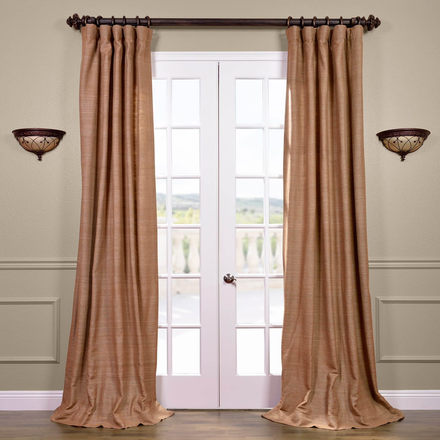 Sandalwood Raw Silk Curtain