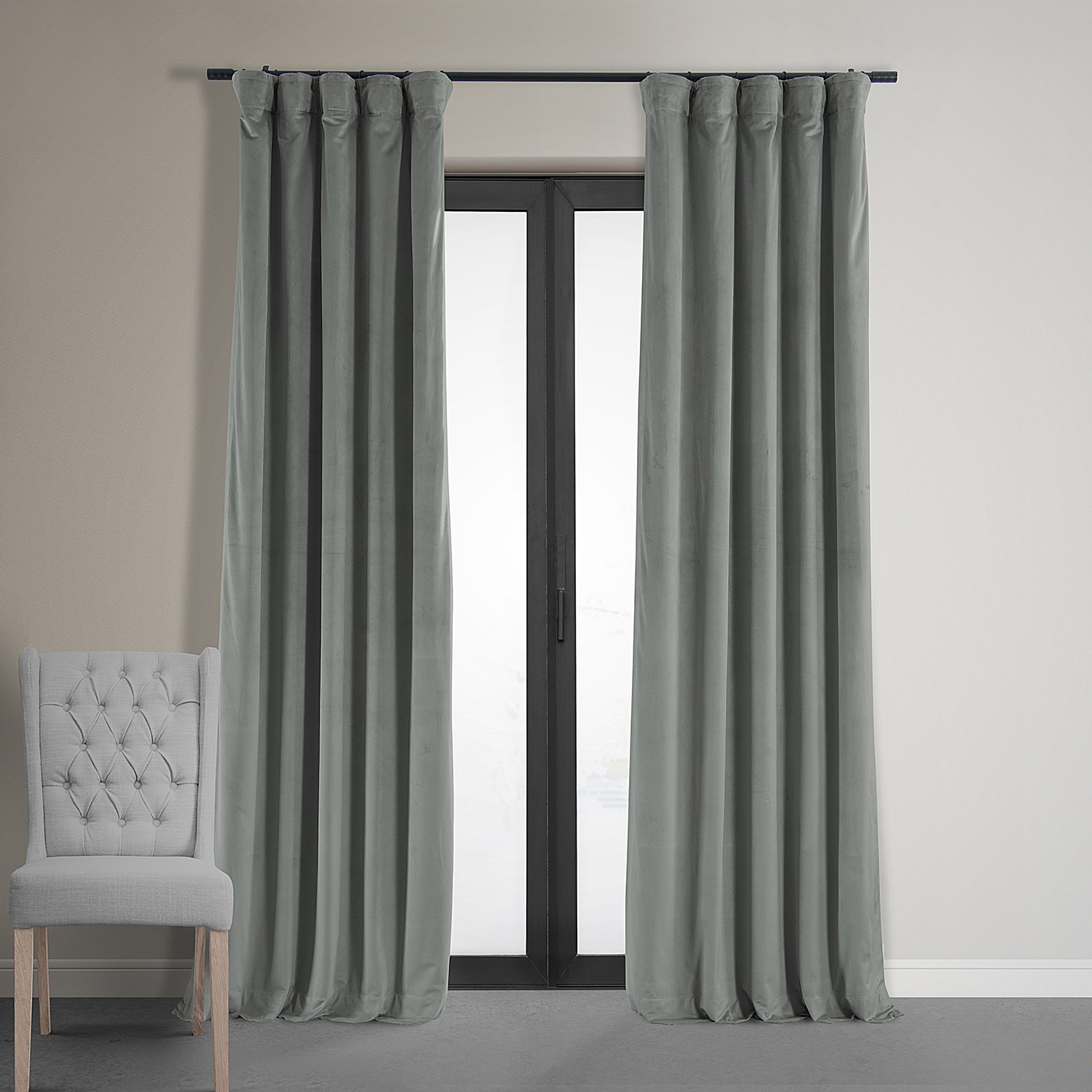 Signature Silver Grey Blackout Velvet Curtain