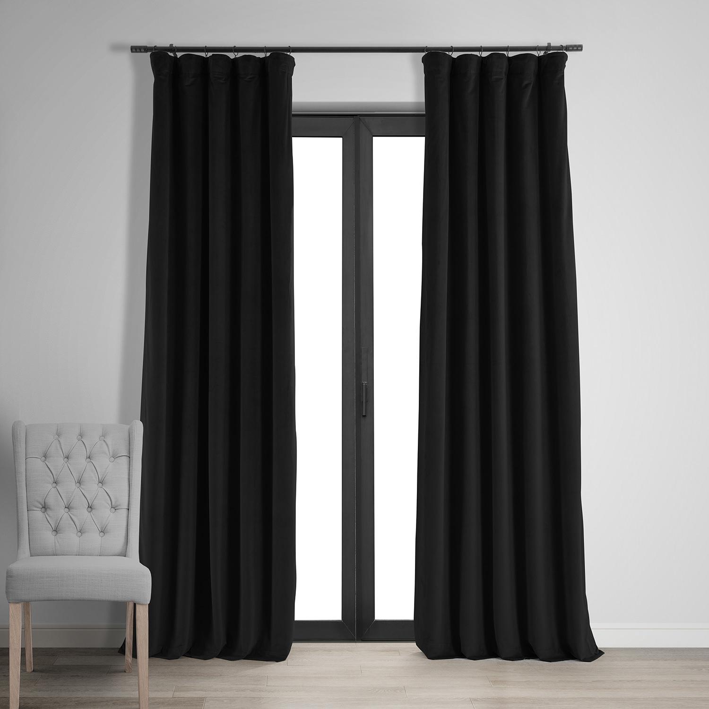 Signature Warm Black Blackout Velvet Curtain