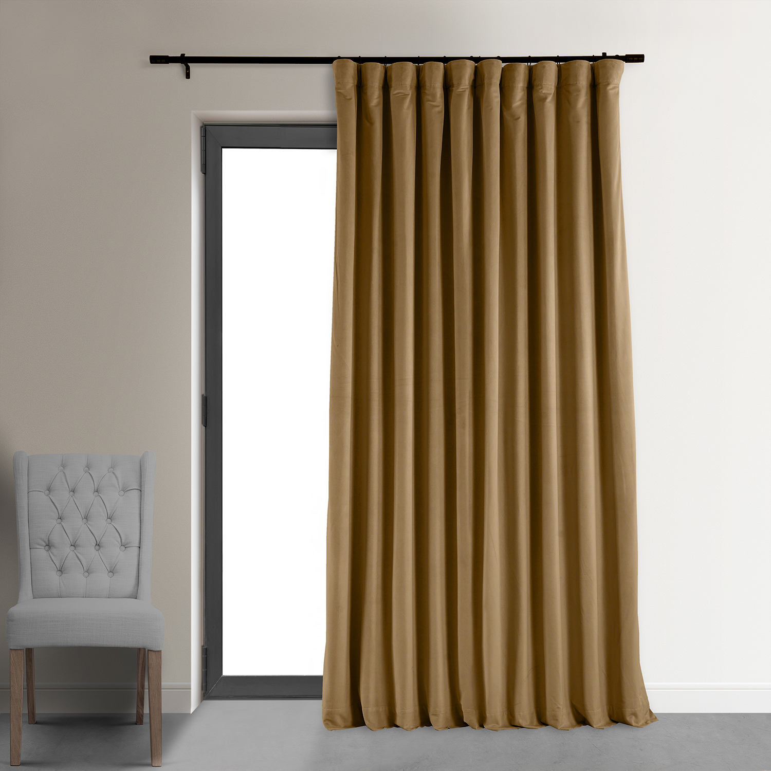 Signature Amber Gold Double Wide Velvet Blackout Pole Pocket Curtain