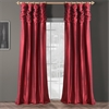 Ruched Bold Red Thai Silk Curtain